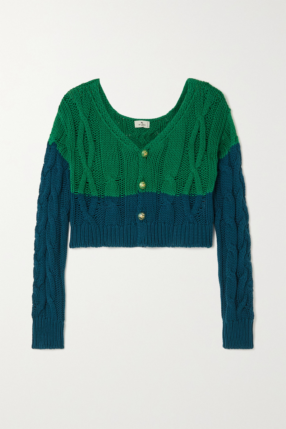 ETRO Cropped two-tone cable-knit cotton and cashmere-blend cardigan
