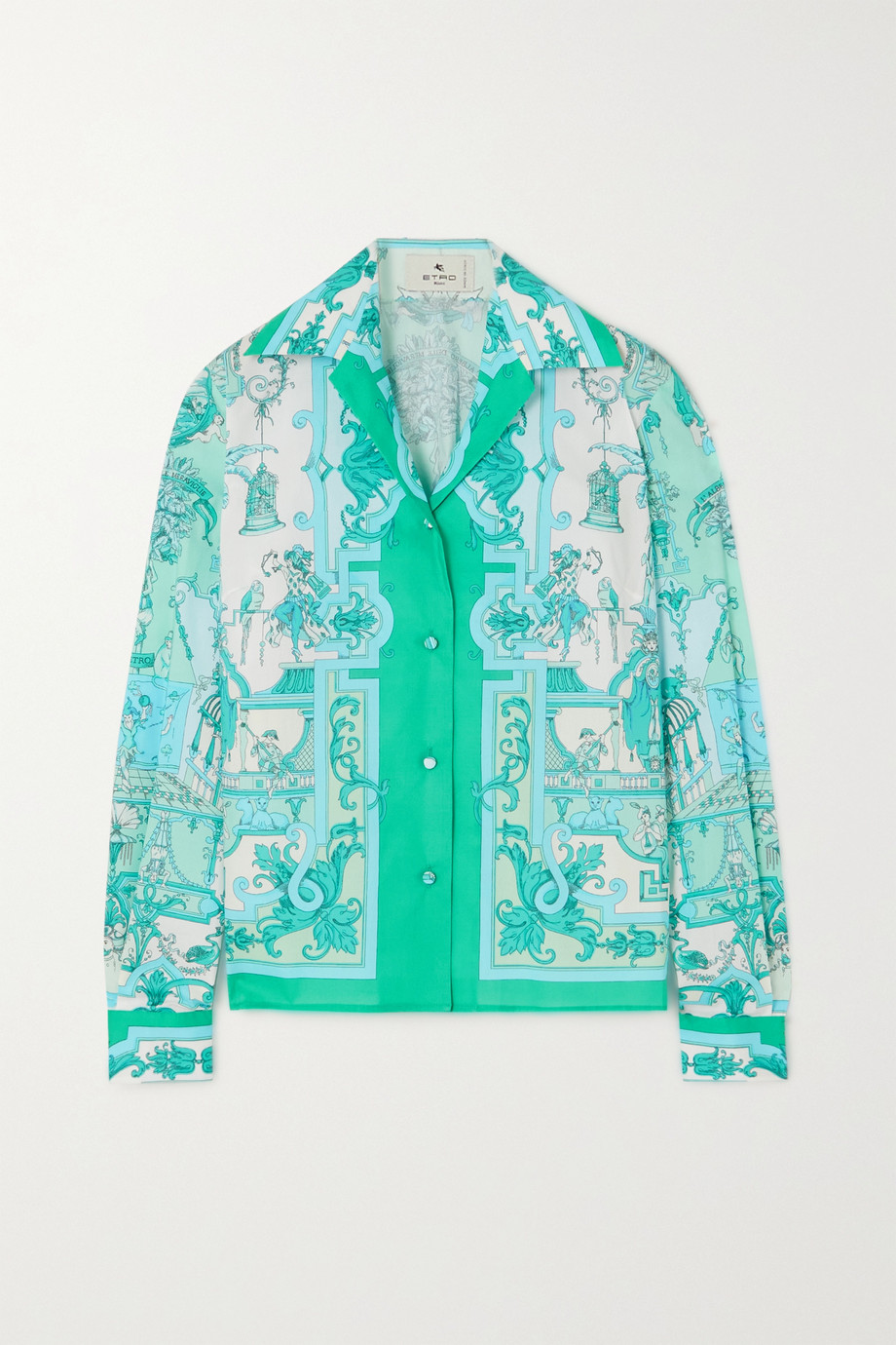 ETRO Printed cotton-blend poplin shirt