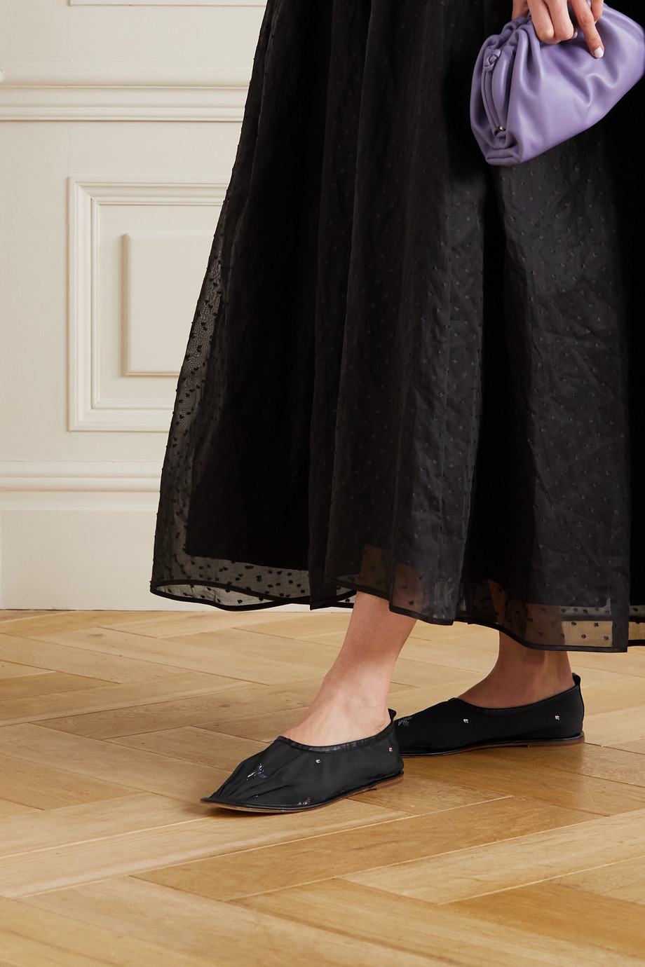 CECILIE BAHNSEN + HEREU Hyacinth leather-trimmed embroidered taffeta ballet flats