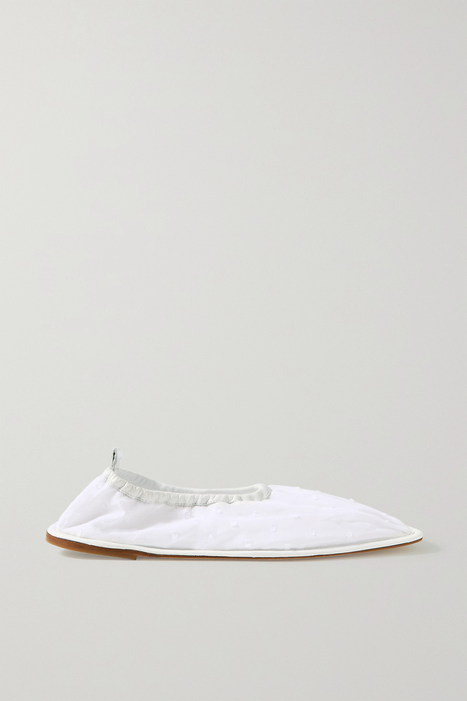 CECILIE BAHNSEN + HEREU Hyacinth leather-trimmed Swiss-dot tulle ballet flats