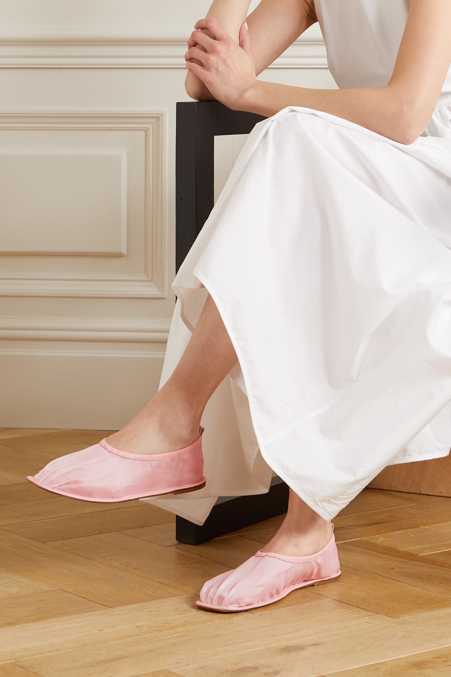 CECILIE BAHNSEN + HEREU leather-trimmed silk-organza ballet flats