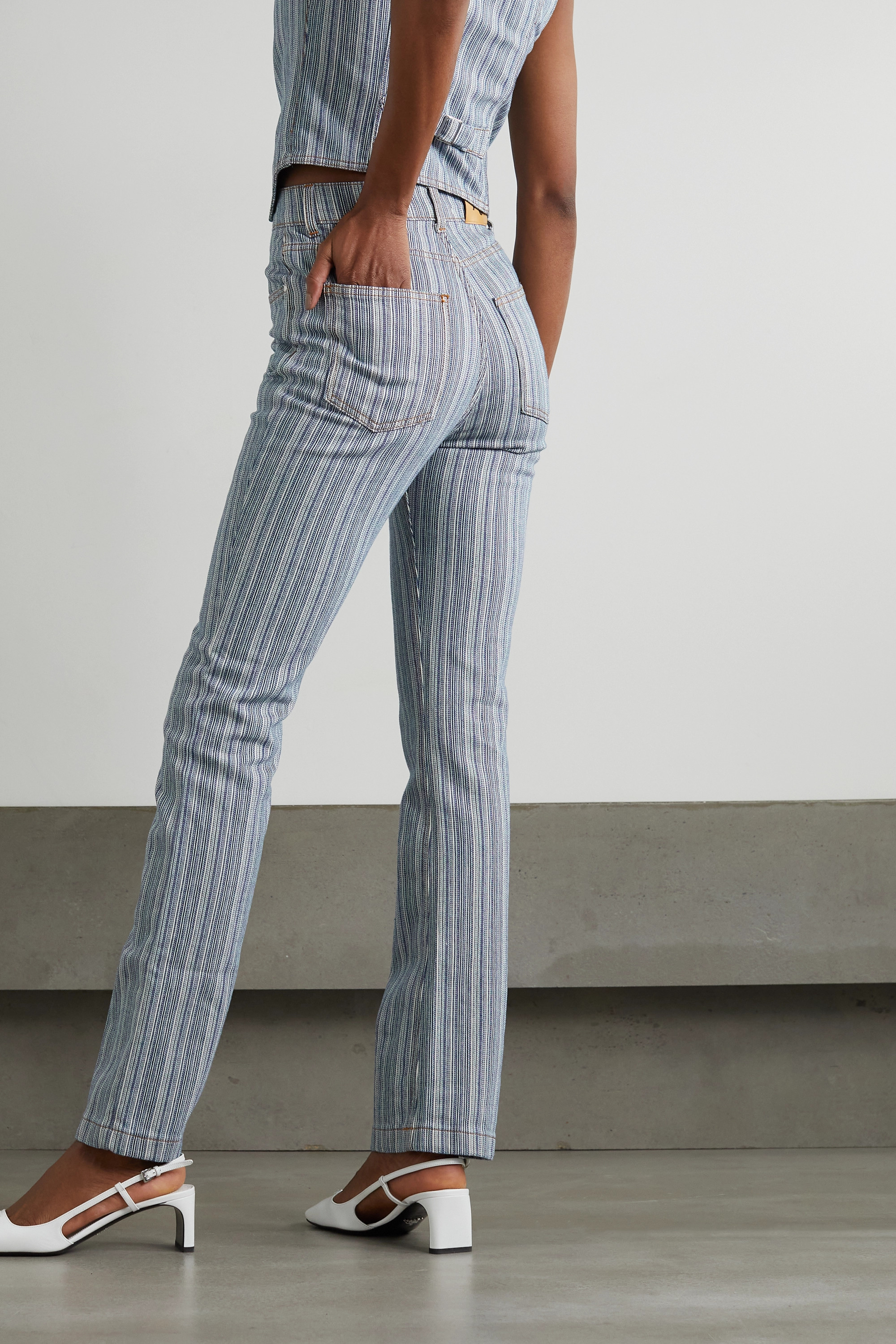 ALEXACHUNG Grady pinstriped flared jeans