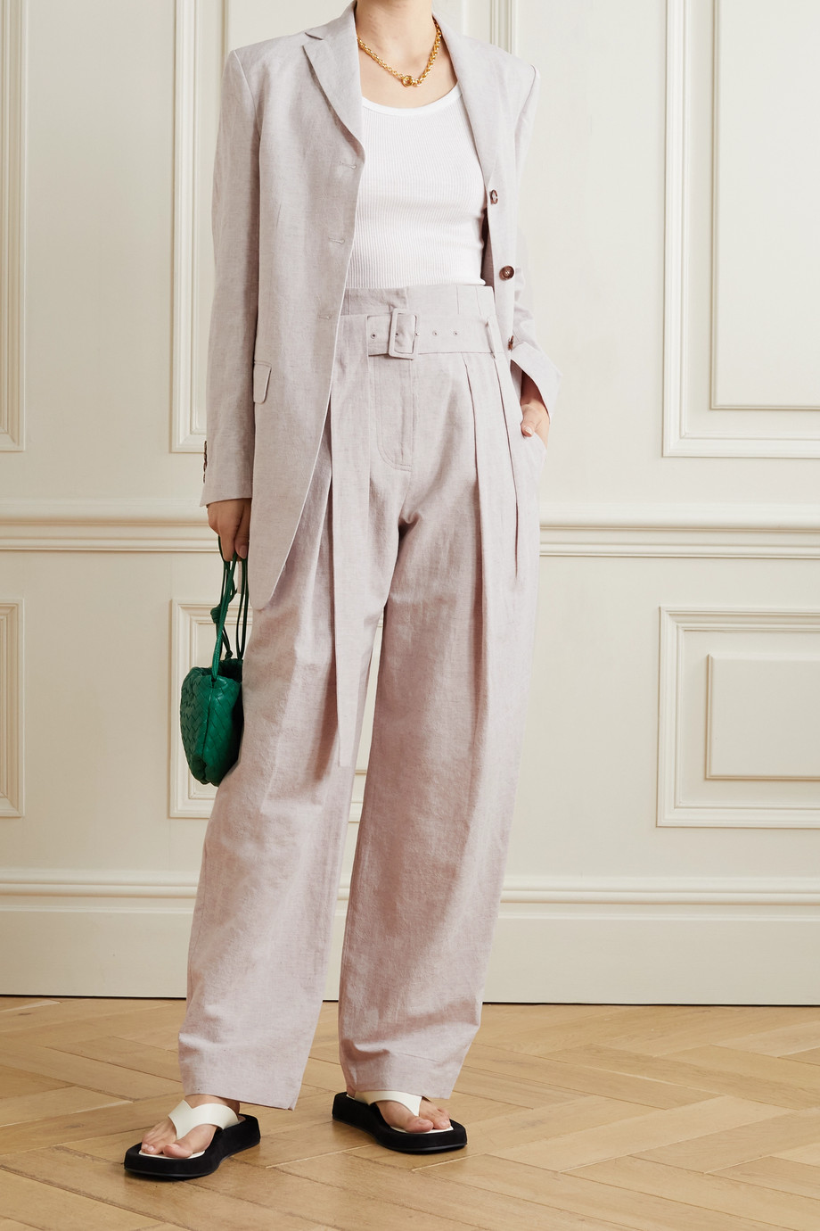 LOW CLASSIC Belted pleated cotton and linen-blend wide-leg pants