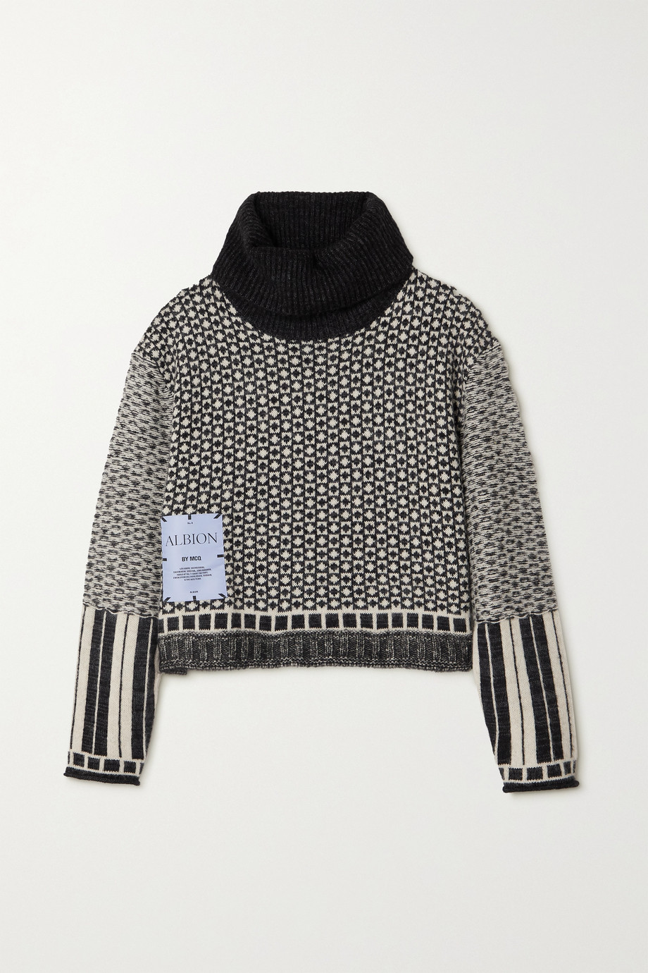 MCQ ALEXANDER MCQUEEN Appliquéd Fair Isle cropped knitted turtleneck sweater