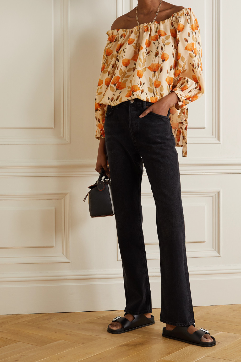 MOTHER OF PEARL + NET SUSTAIN Bobbie gathered floral-print Lyocell-twill blouse