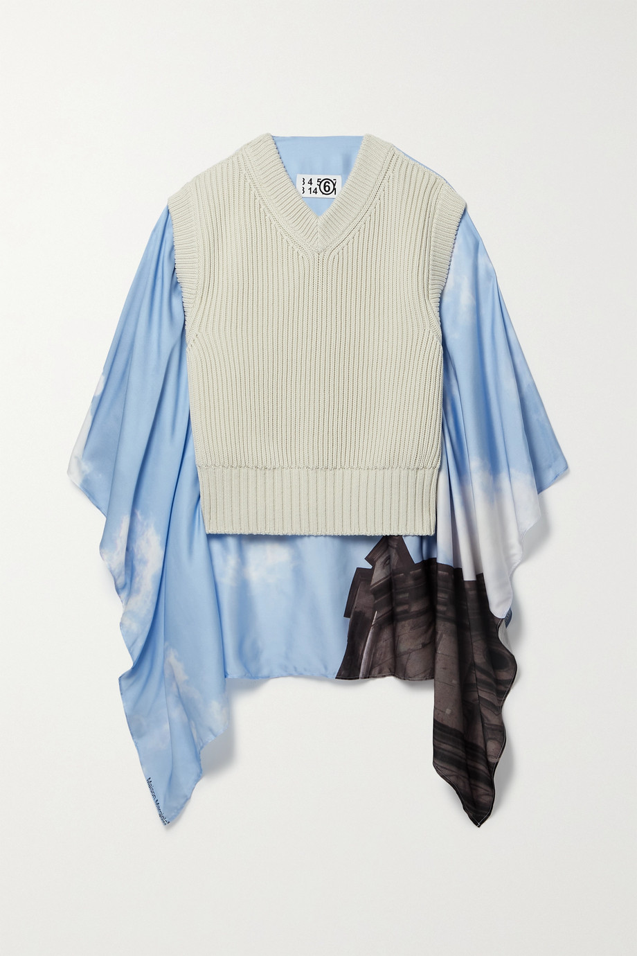 MM6 MAISON MARGIELA Cape-effect printed crepe de chine and ribbed cotton sweater