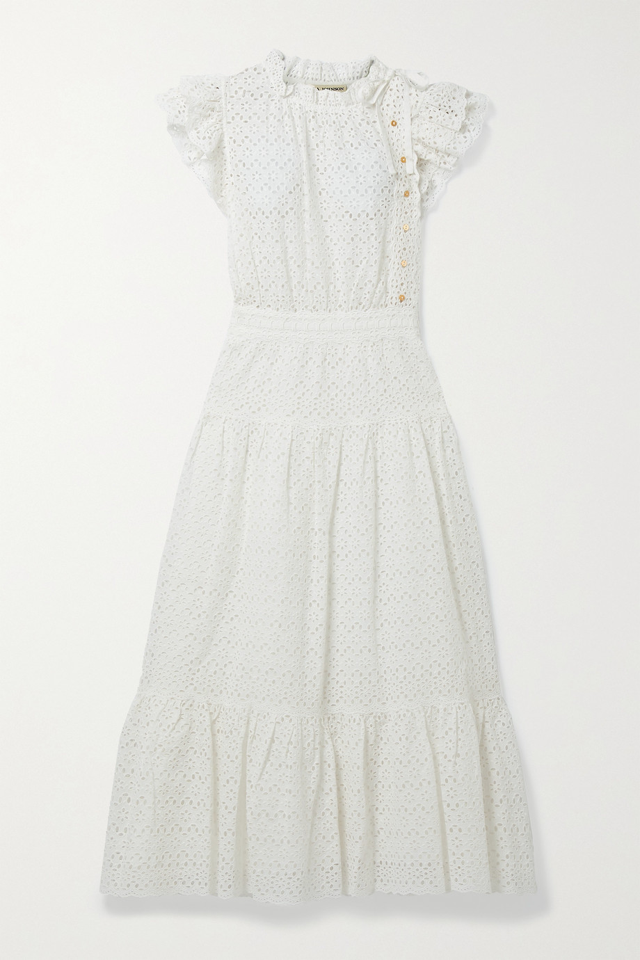ULLA JOHNSON Lucille tie-detailed ruffled broderie anglaise cotton midi dress