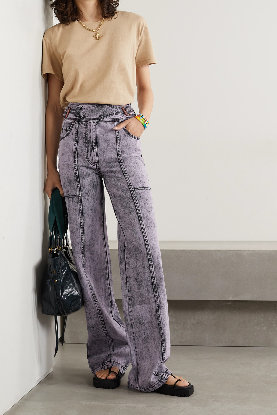ULLA JOHNSON Albie belted acid-wash high-rise wide-leg jeans