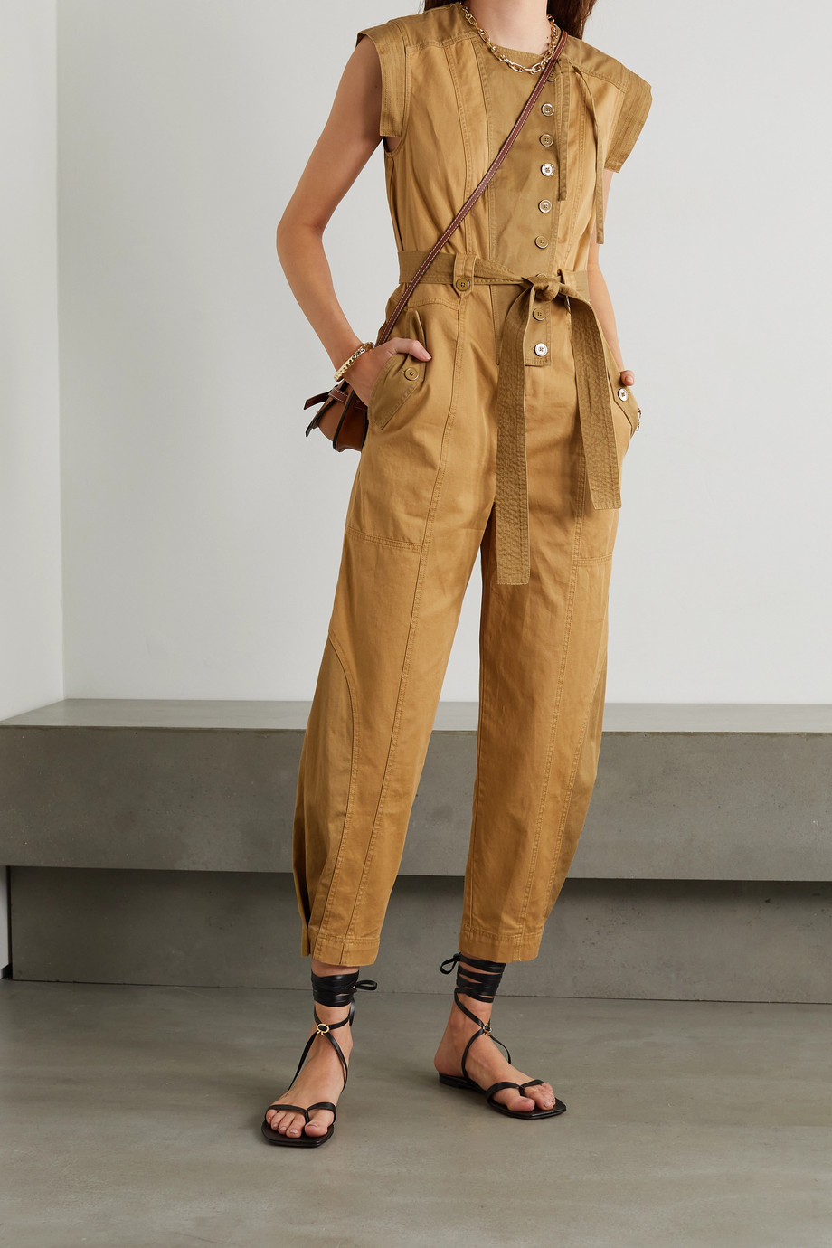 ULLA JOHNSON Valentine belted patchwork cotton-twill jumpsuit
