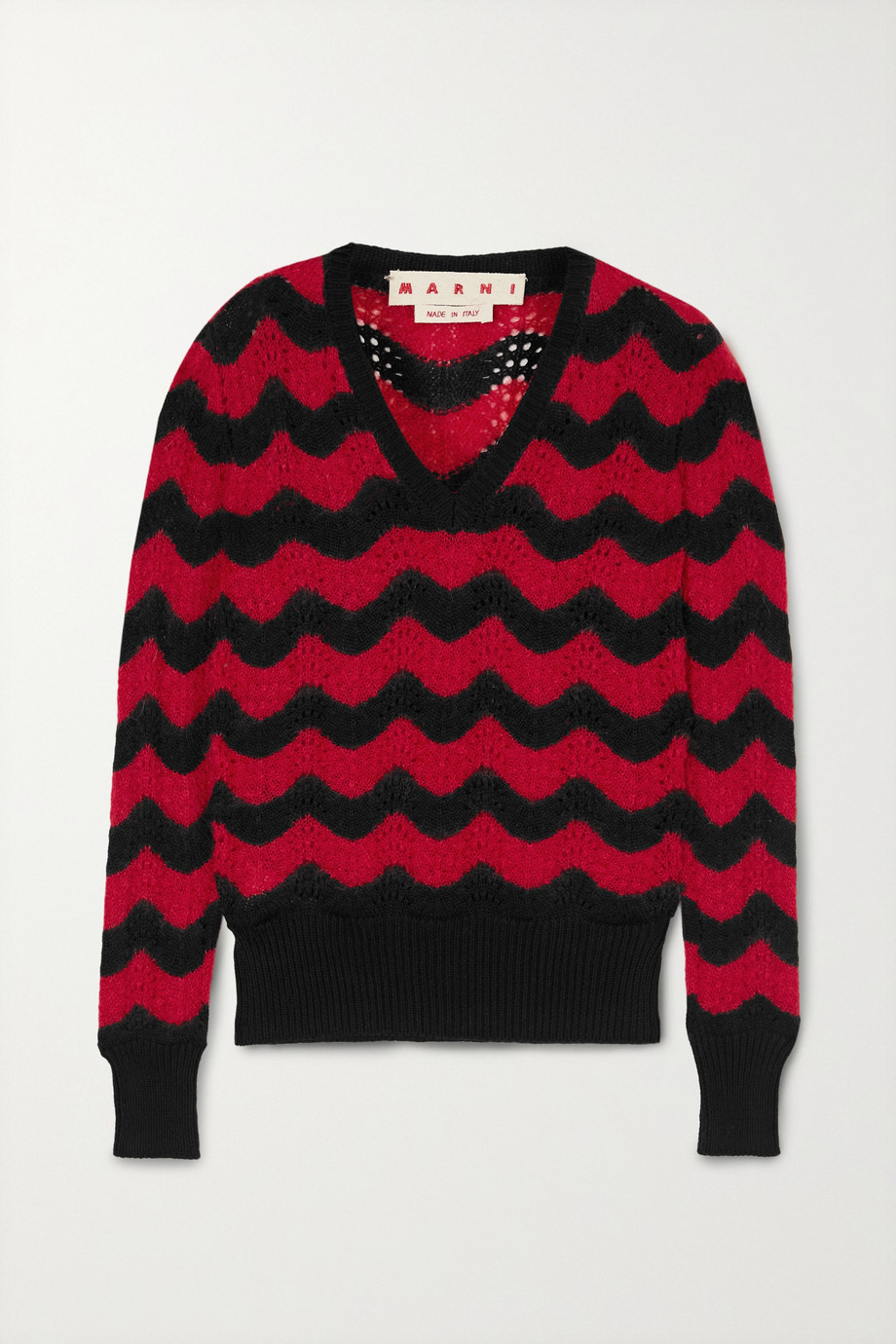 MARNI Striped pointelle-knit cotton-blend sweater