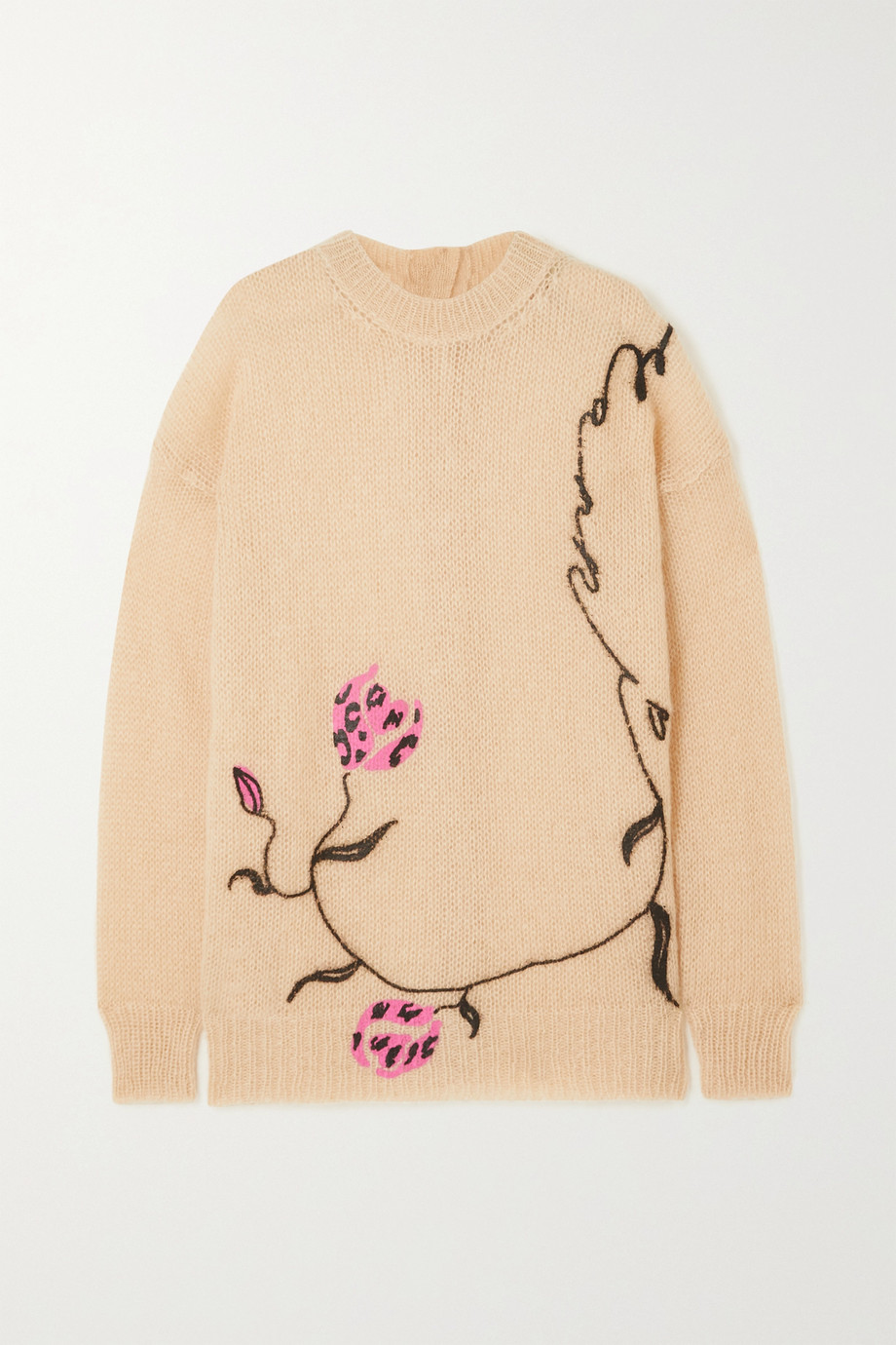 MARNI Floral-print mohair-blend sweater