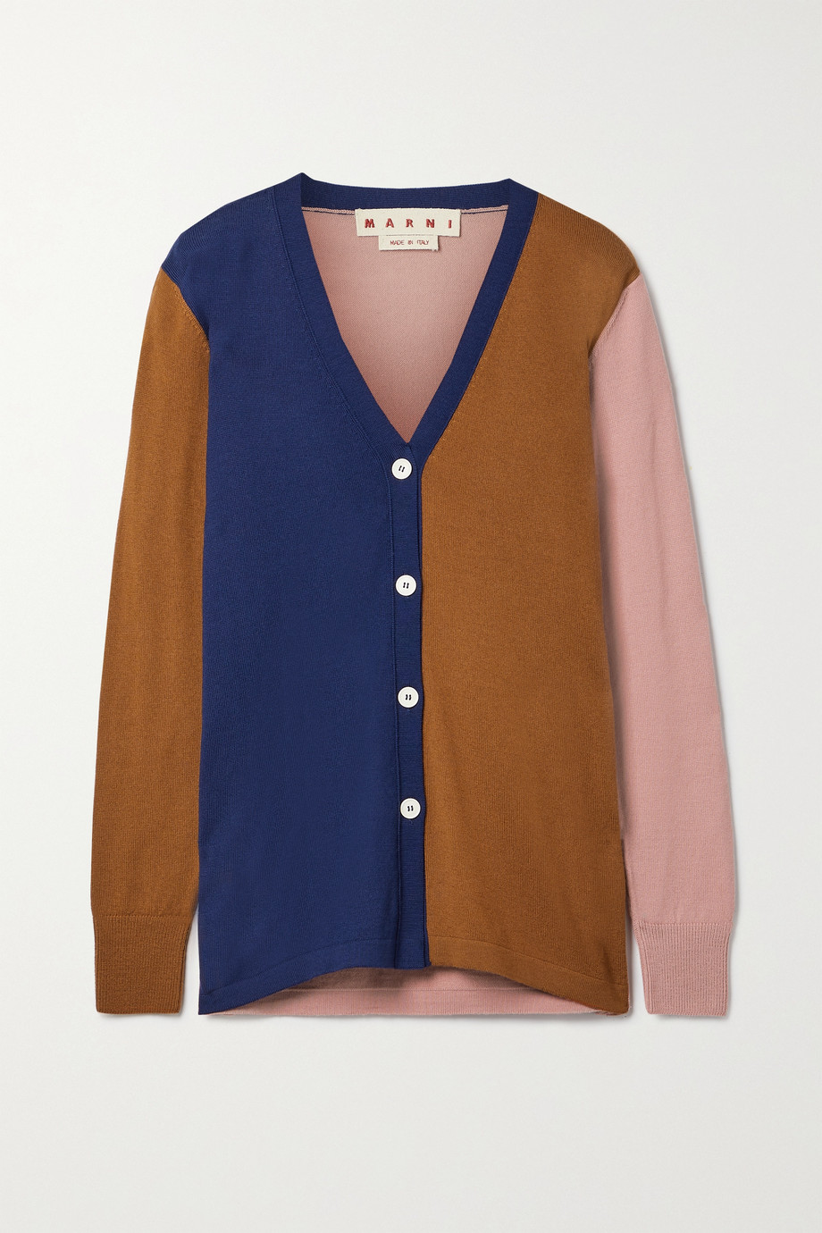 MARNI Color-block wool cardigan