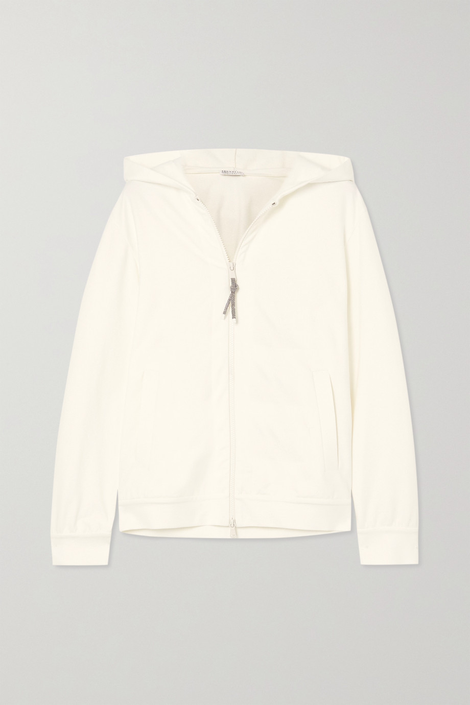 BRUNELLO CUCINELLI Bead-embellished cotton-blend jersey hoodie