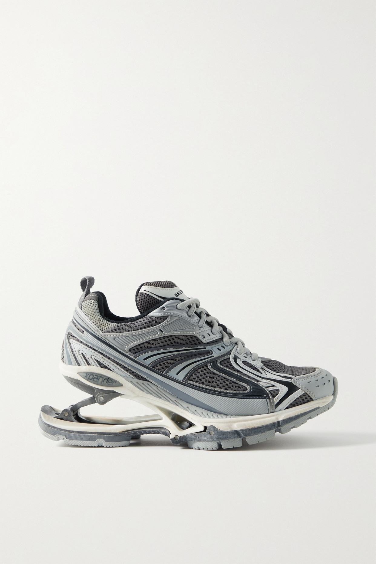Balenciaga X-pander Mesh And Rubber Sneakers In Gray