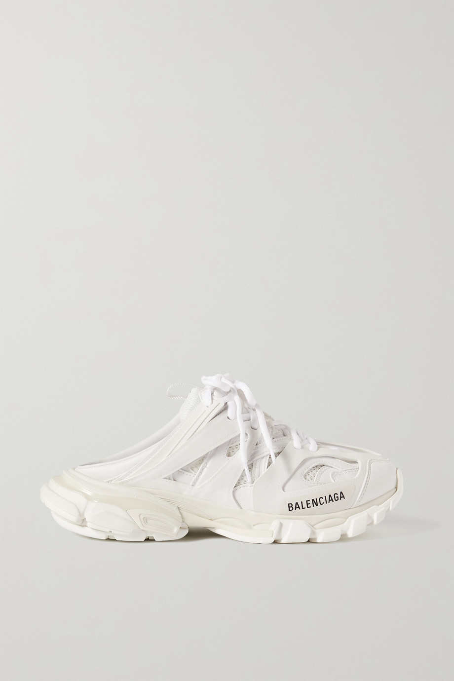 BALENCIAGA Track Mule logo-print mesh and rubber sneakers