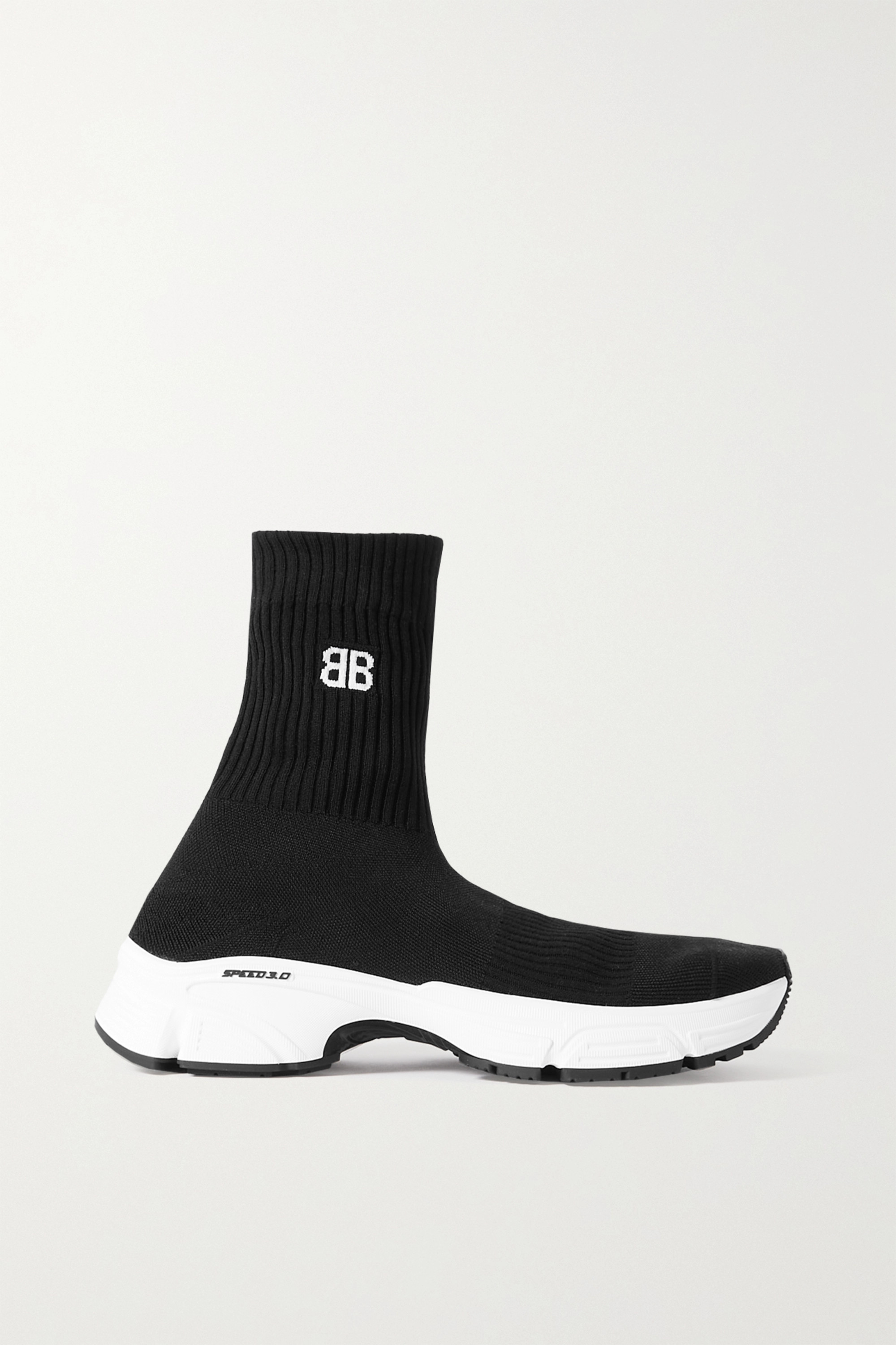 BALENCIAGA Speed 3.0 logo-jacquard stretch-knit high-top sneakers