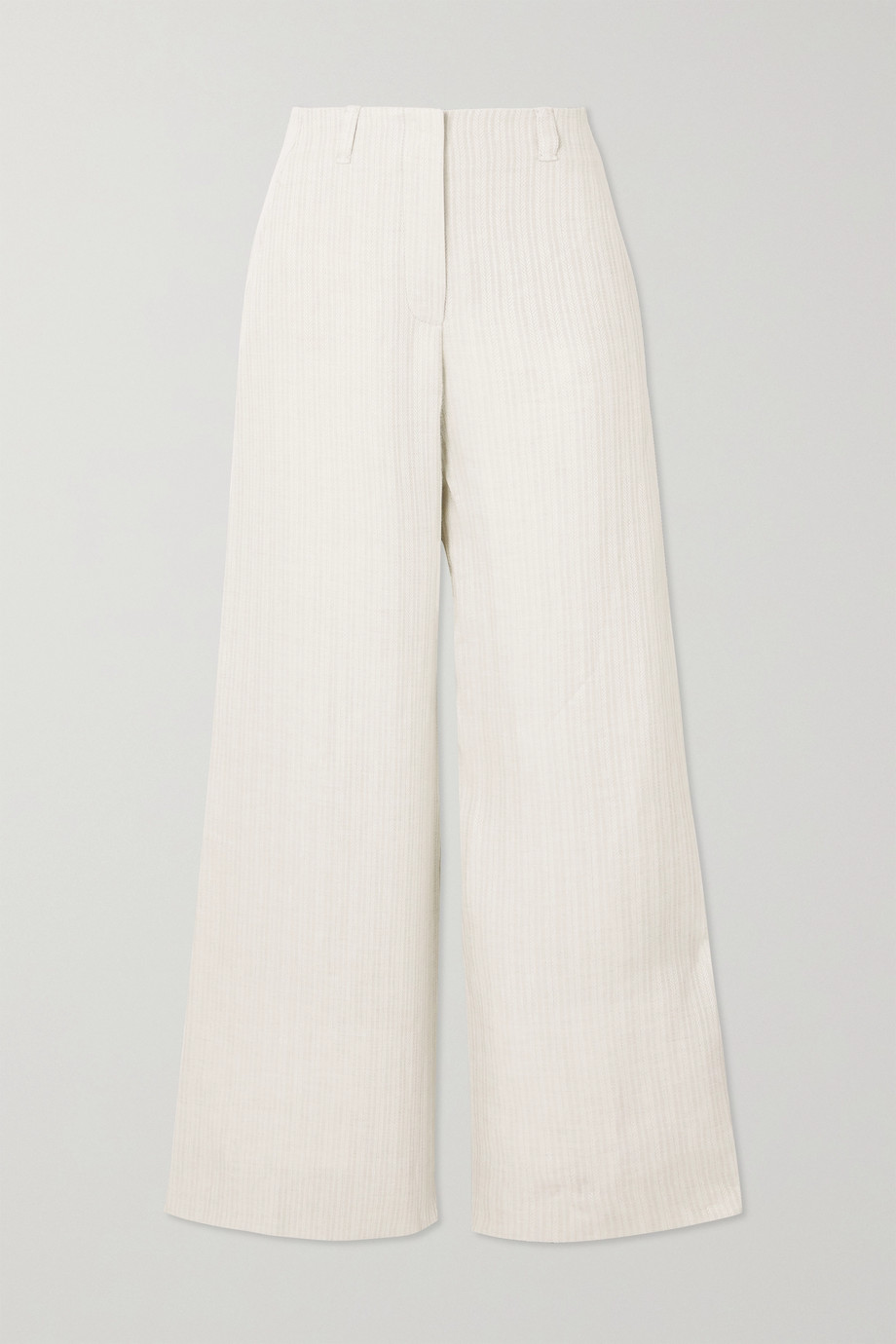 LORO PIANA Harve herringbone linen wide-leg pants
