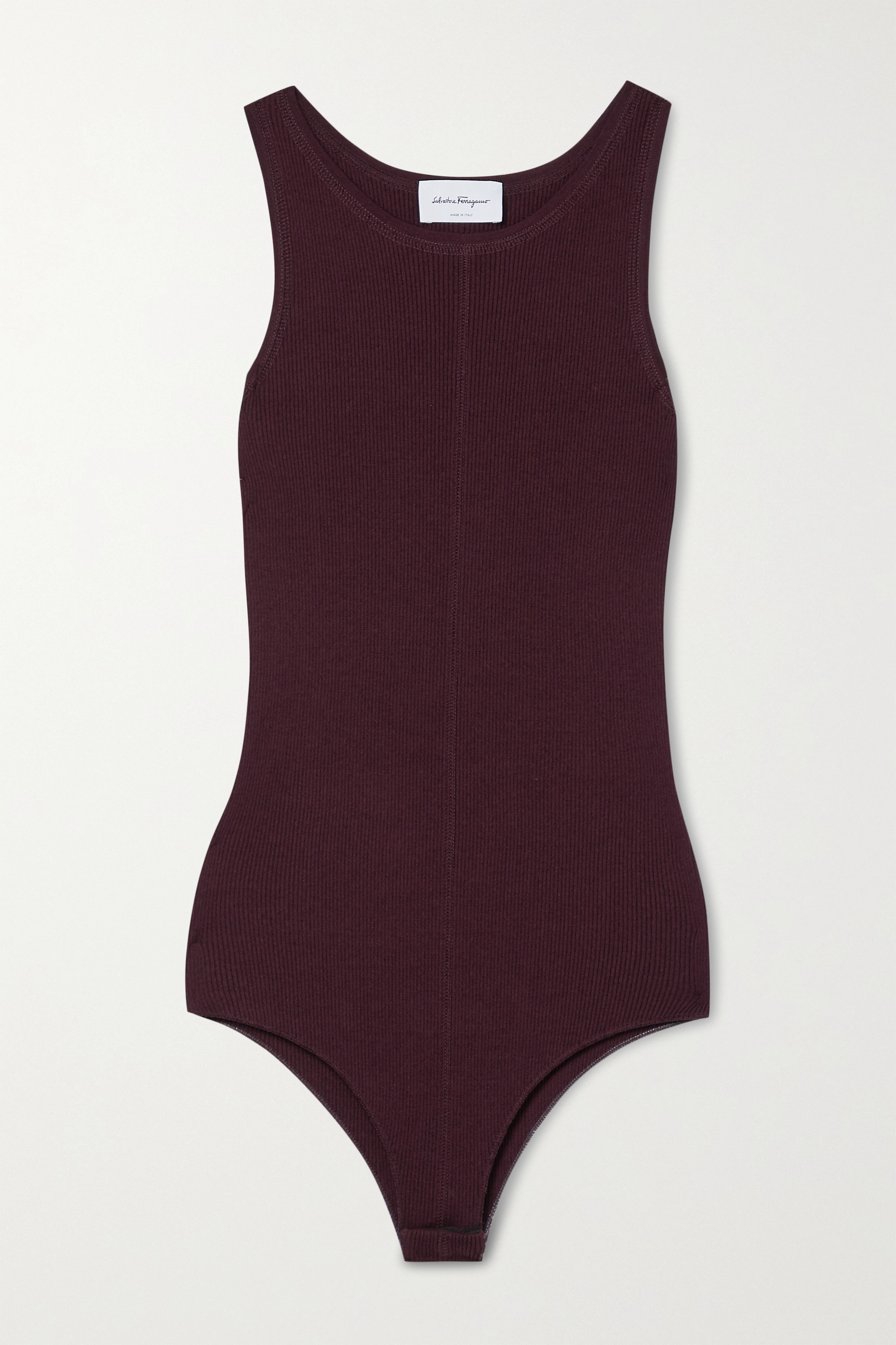 SALVATORE FERRAGAMO Ribbed silk-blend bodysuit