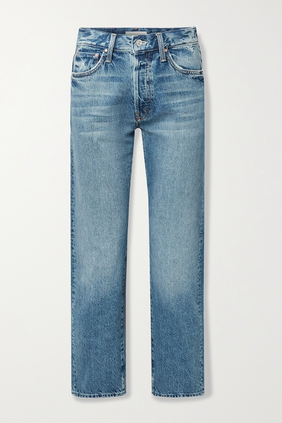 MOTHER Hiker Hover distressed high-rise straight-leg jeans
