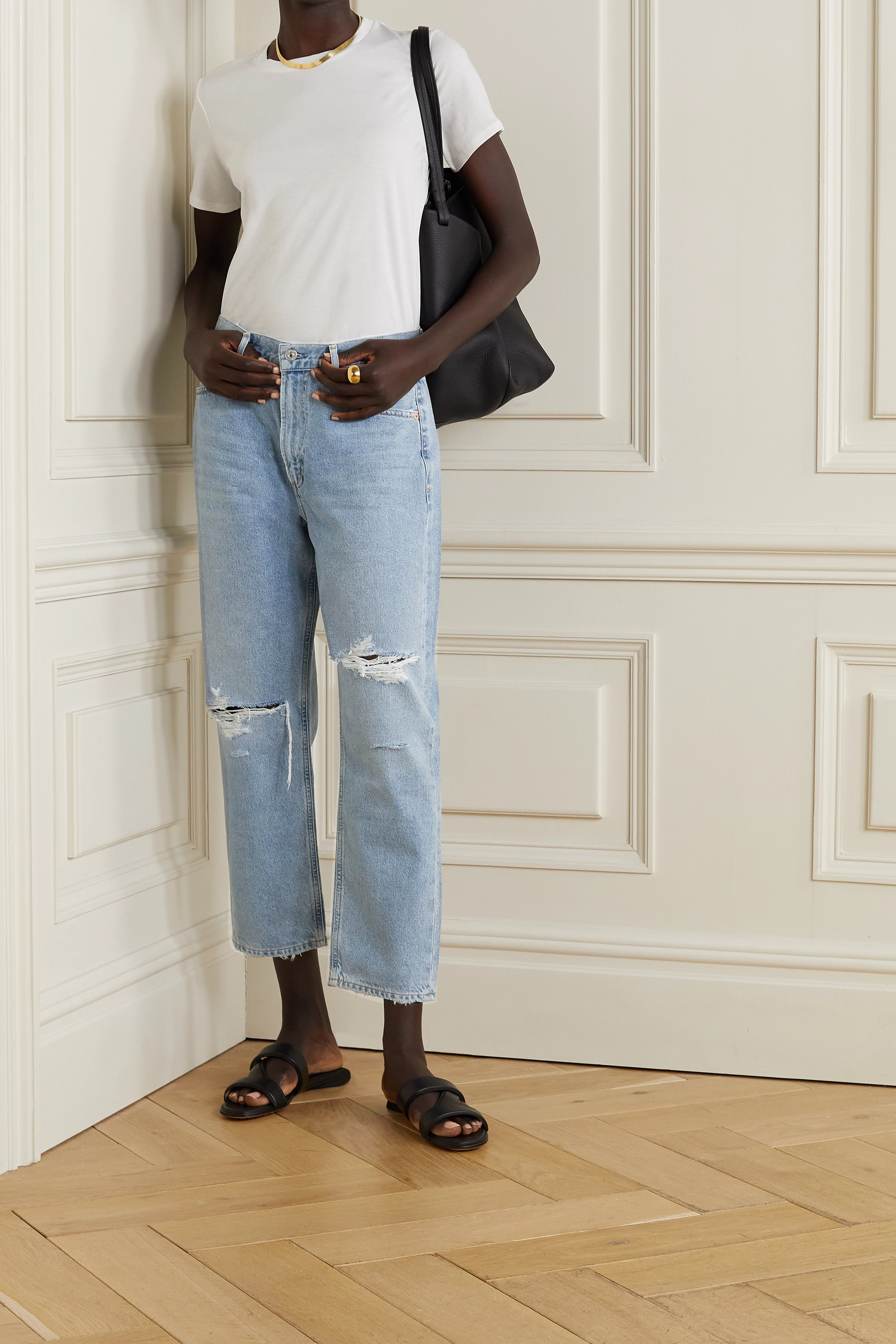 CITIZENS OF HUMANITY + NET SUSTAIN Marlee cropped distressed organic high-rise tapered jeans