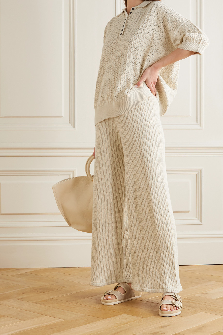 MR MITTENS Cable-knit cotton wide-leg pants