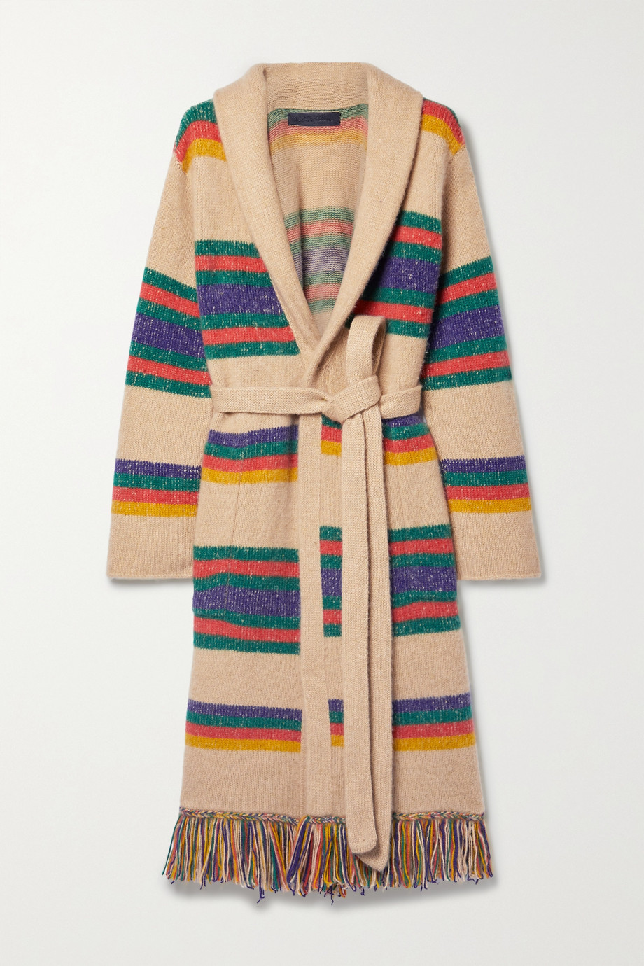 THE ELDER STATESMAN Pier fringed striped belted cashmere cardigan