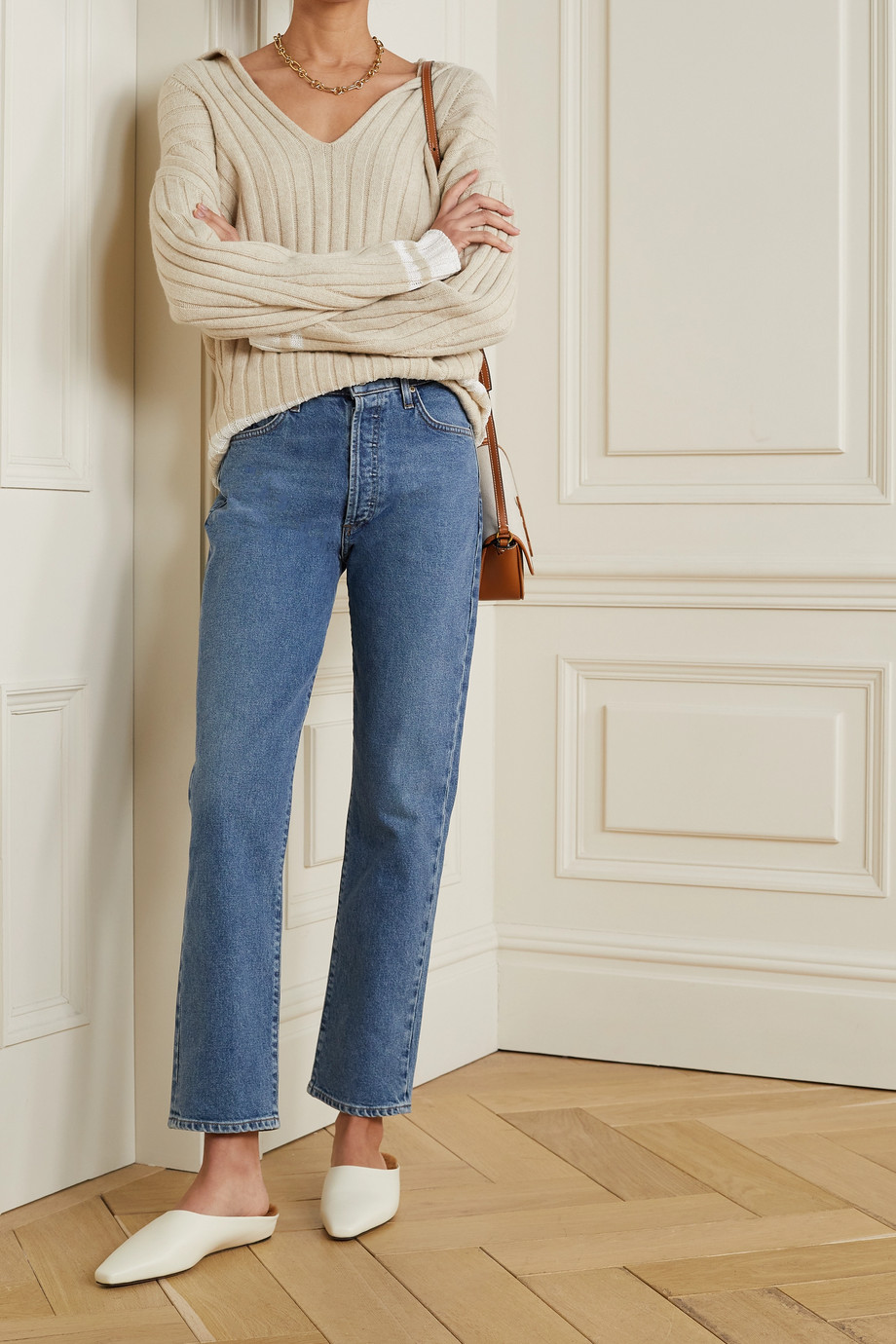 GOLDSIGN + NET SUSTAIN high-rise straight-leg jeans