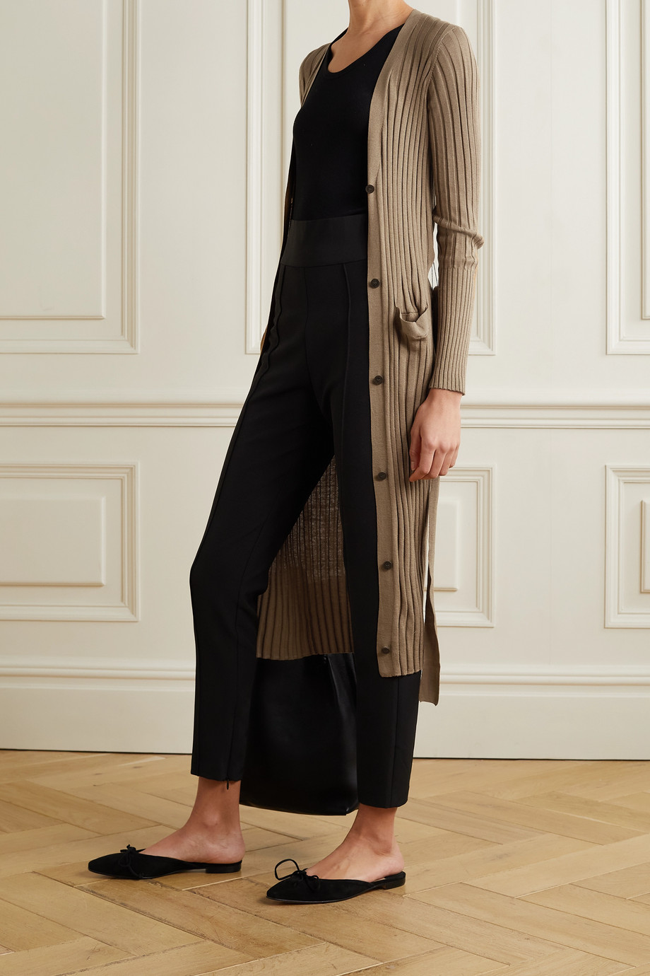 ATM ANTHONY THOMAS MELILLO Belted ribbed silk and cotton-blend cardigan