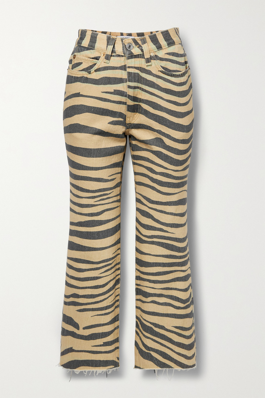 RE/DONE + NET SUSTAIN 70s cropped frayed tiger-print high-rise flared jeans