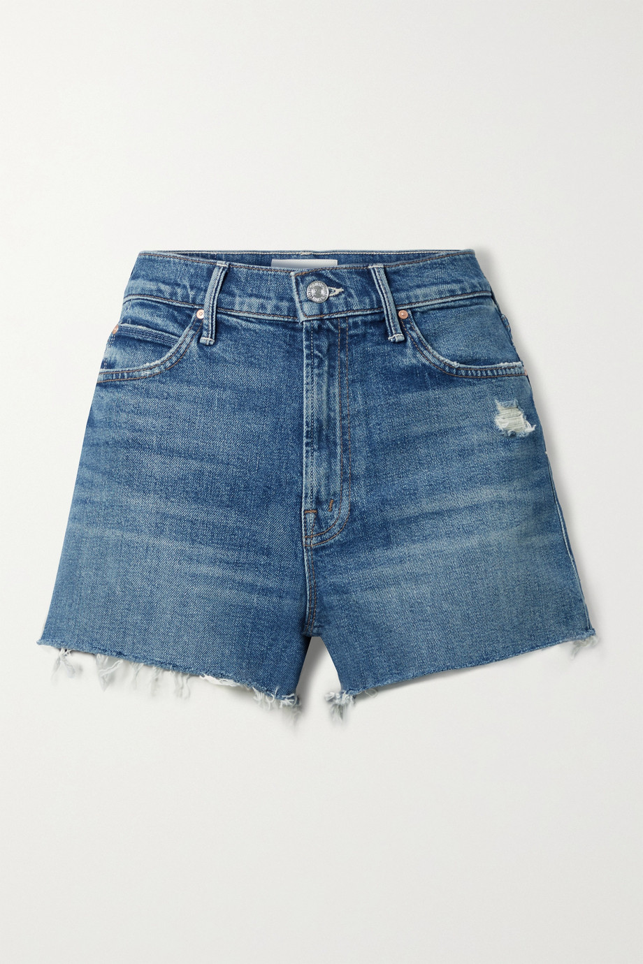 MOTHER The Dutchie distressed denim shorts