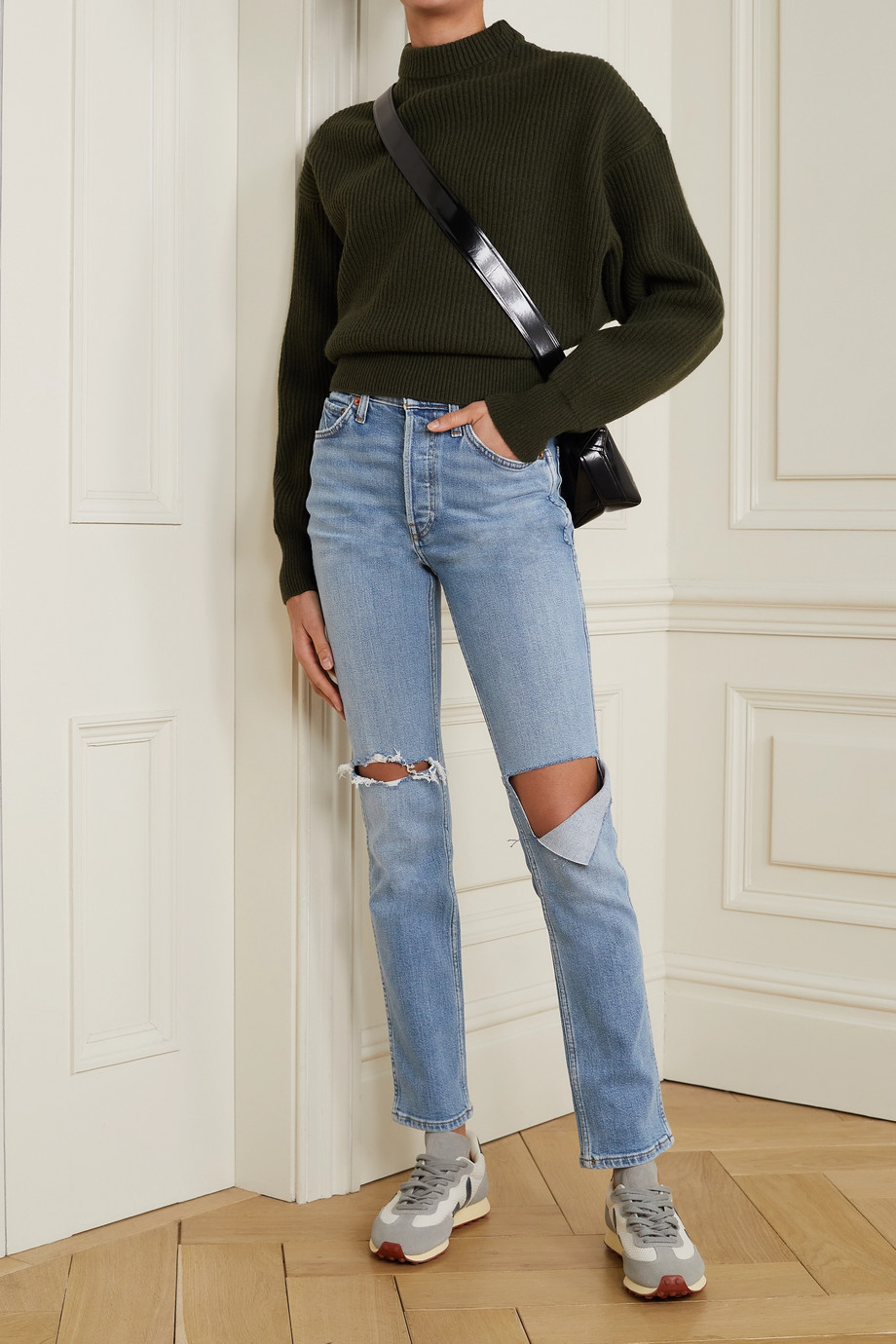 RE/DONE + NET SUSTAIN 80s distressed high-rise straight-leg jeans