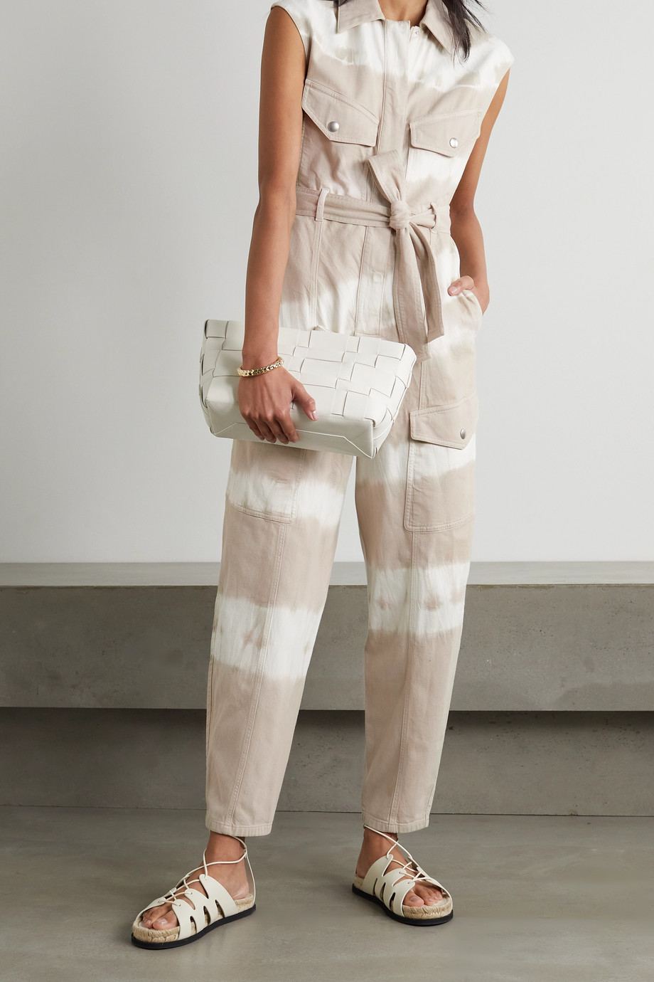 STELLA MCCARTNEY Belted tie-dyed cotton-twill jumpsuit