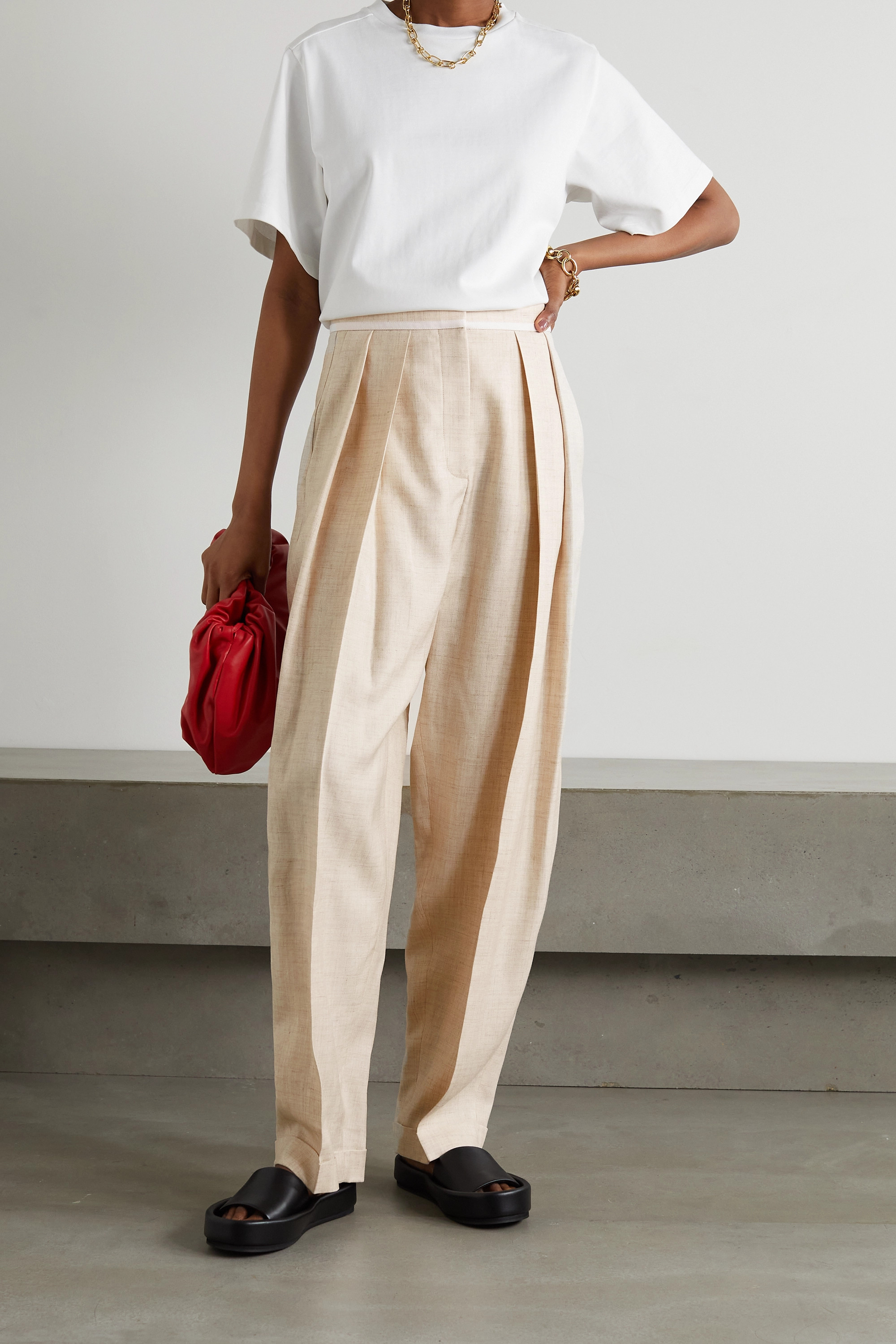 STELLA MCCARTNEY Ariana pleated woven wide-leg pants