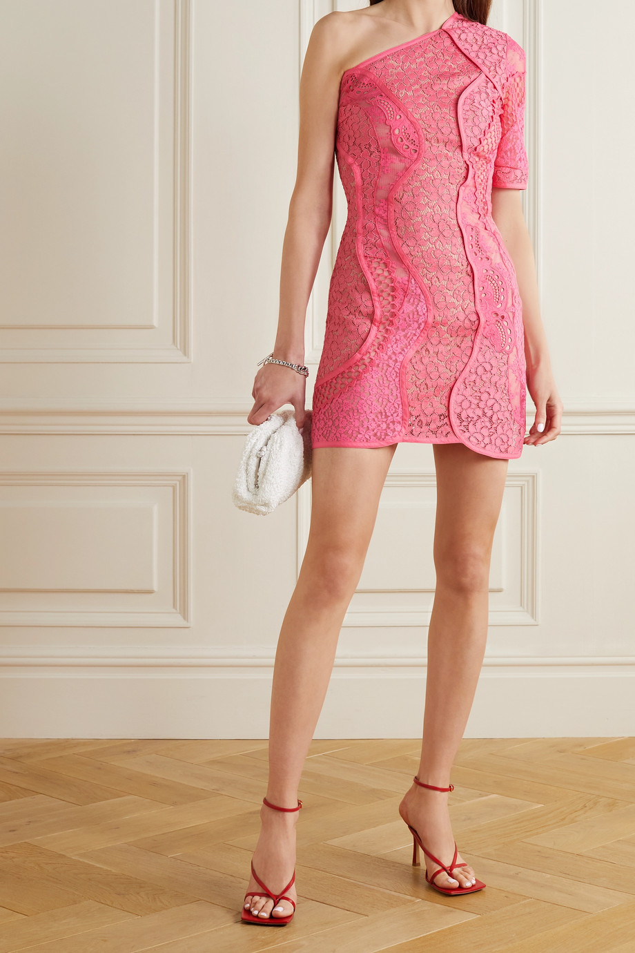 STELLA MCCARTNEY Daniela one-shoulder cotton-blend corded lace mini dress