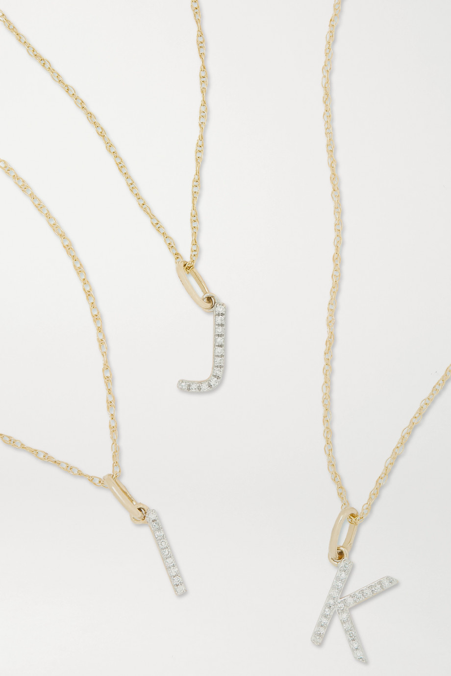 STONE AND STRAND Alphabet 9-karat gold diamond necklace