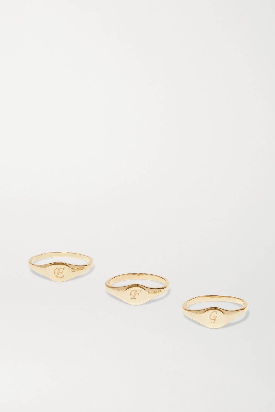 STONE AND STRAND Alphabet Mini Pinky gold ring