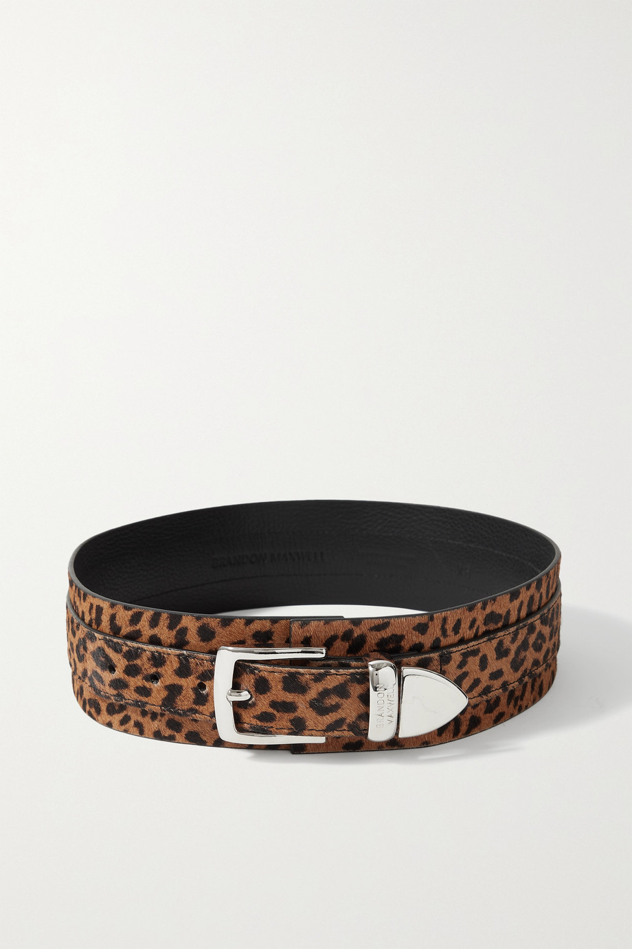 BRANDON MAXWELL Cheetah-print calf hair waist belt
