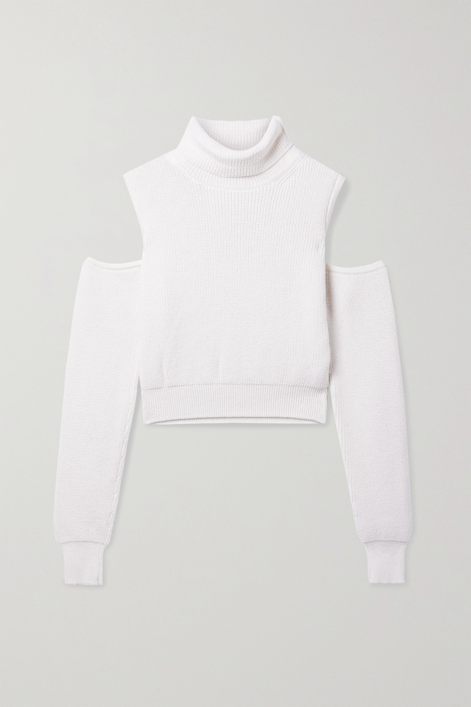 BRANDON MAXWELL Cold-shoulder ribbed wool-blend turtleneck sweater