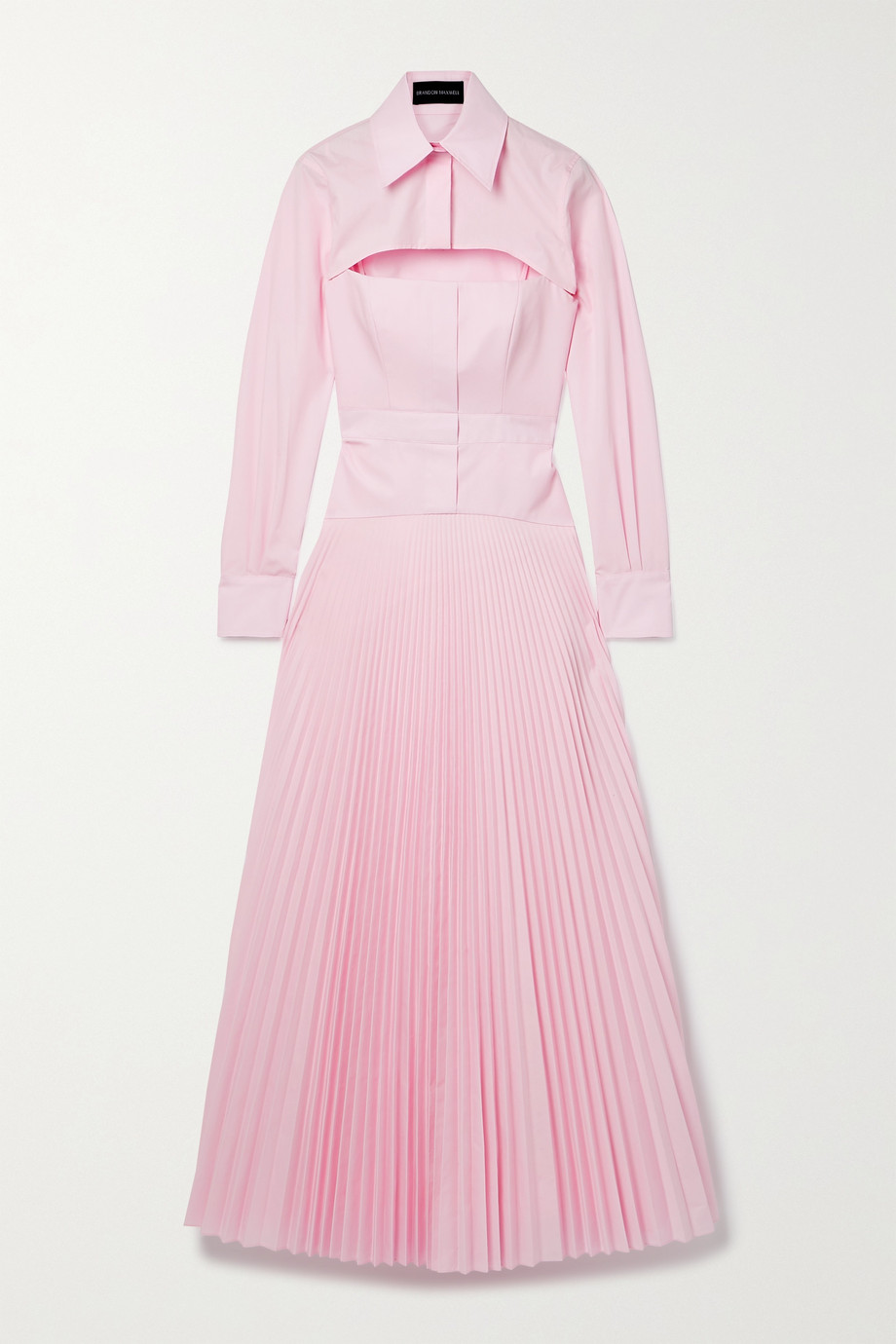 BRANDON MAXWELL Layered pleated cotton-blend poplin maxi dress