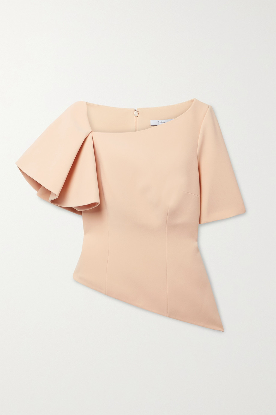 SAFIYAA Sylva asymmetric ruffled stretch-crepe top