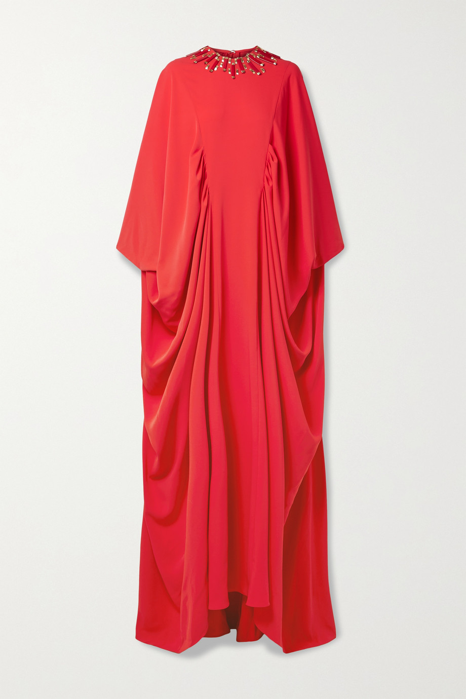REEM ACRA Draped embellished crepe de chine gown