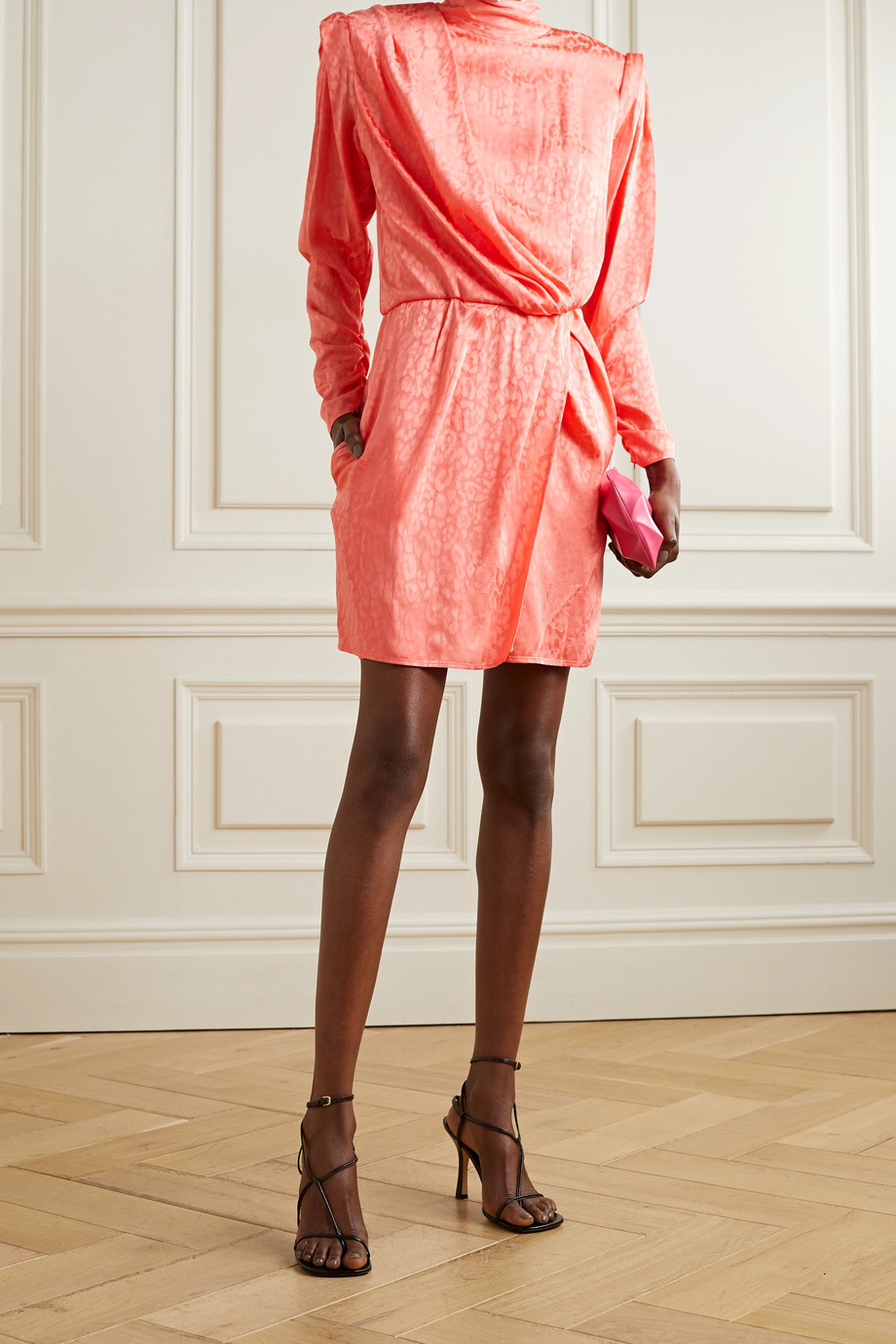 DUNDAS Montana draped wrap-effect satin-jacquard mini dress