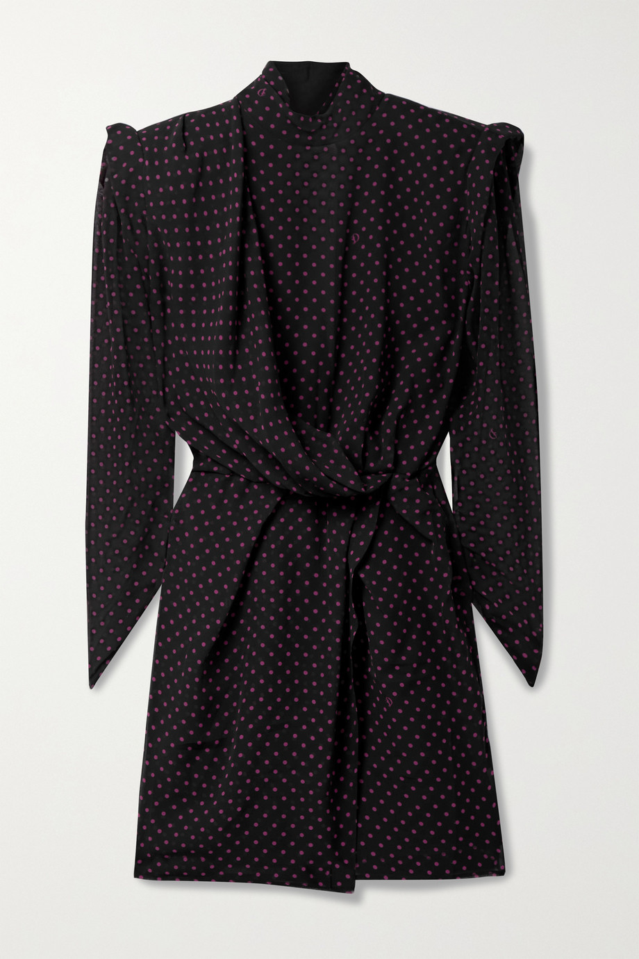 DUNDAS Montana draped wrap-effect polka-dot silk-georgette mini dress