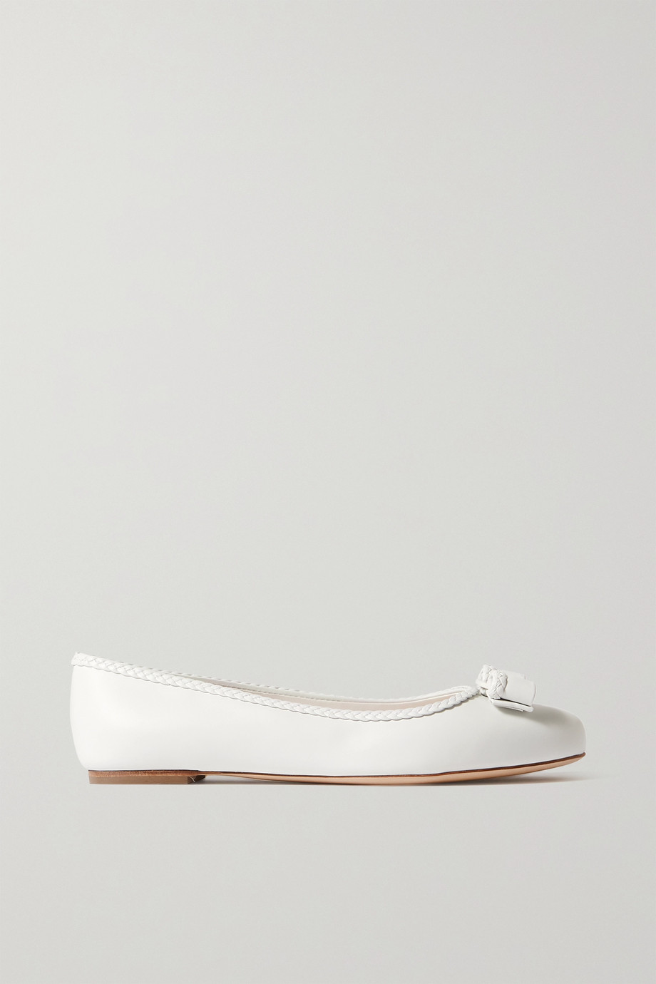 SALVATORE FERRAGAMO Varina bow-embellished braided leather ballet flats
