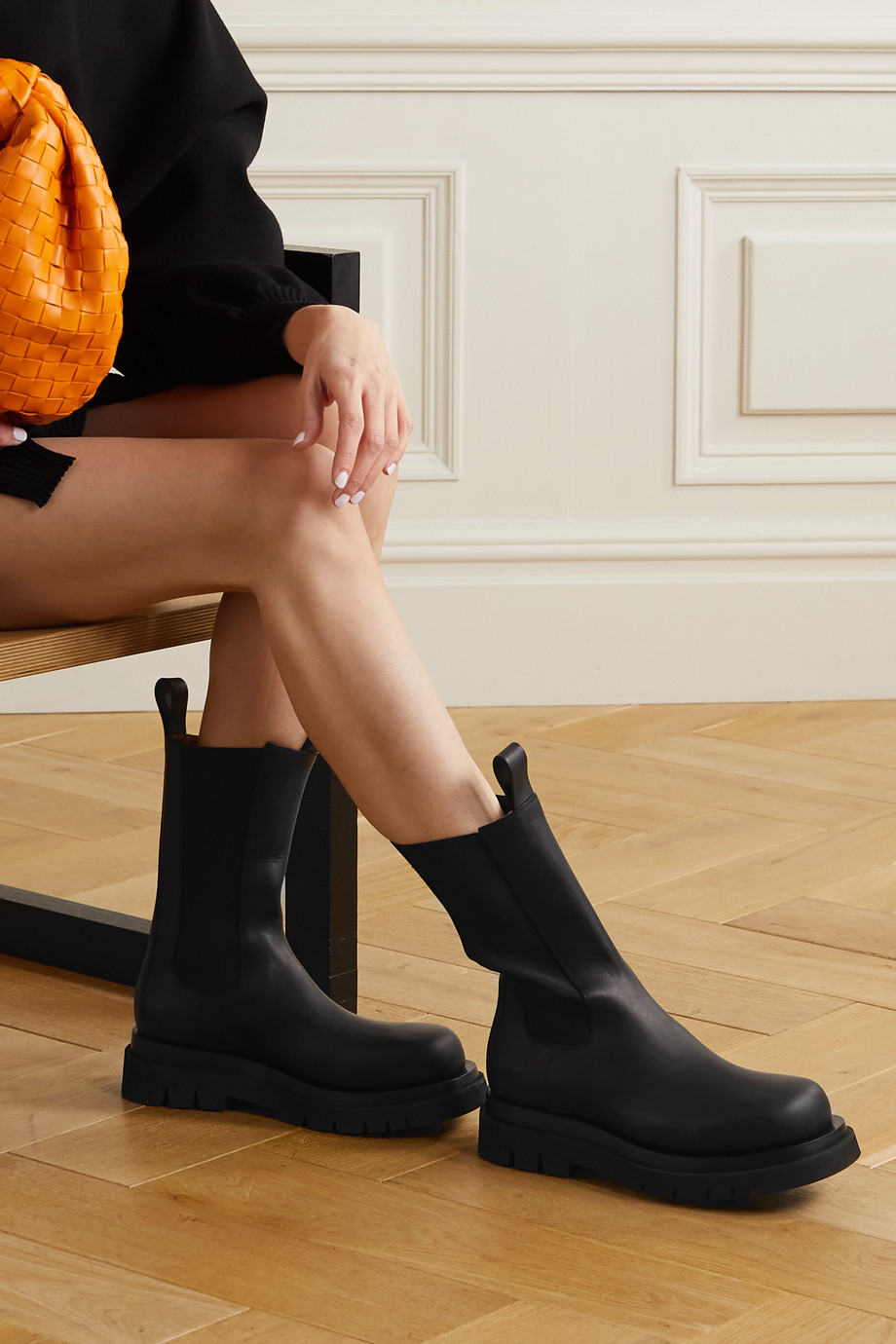 BOTTEGA VENETA Lug rubber-trimmed leather Chelsea boots