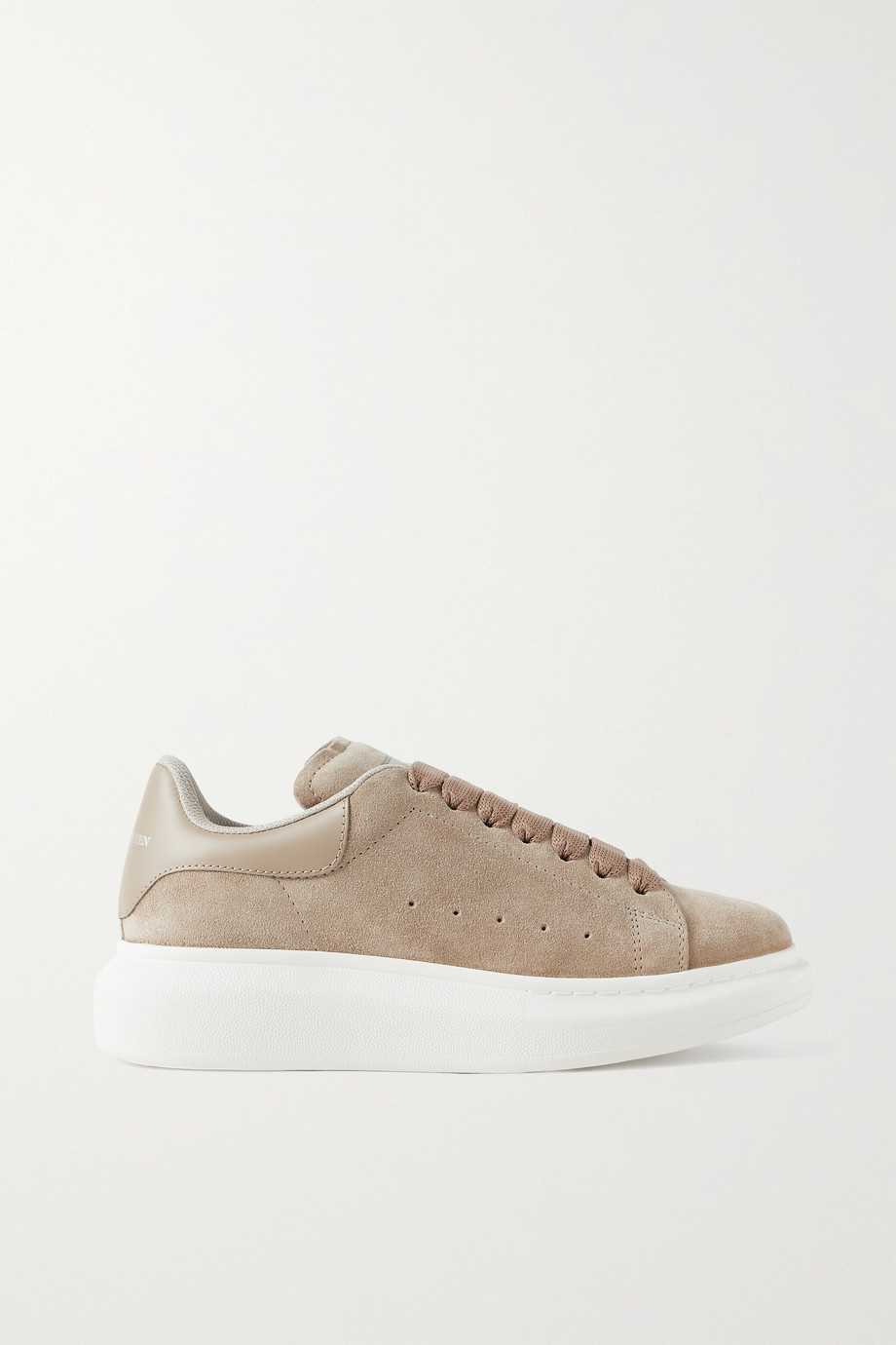 ALEXANDER MCQUEEN Leather-trimmed suede exaggerated-sole sneakers