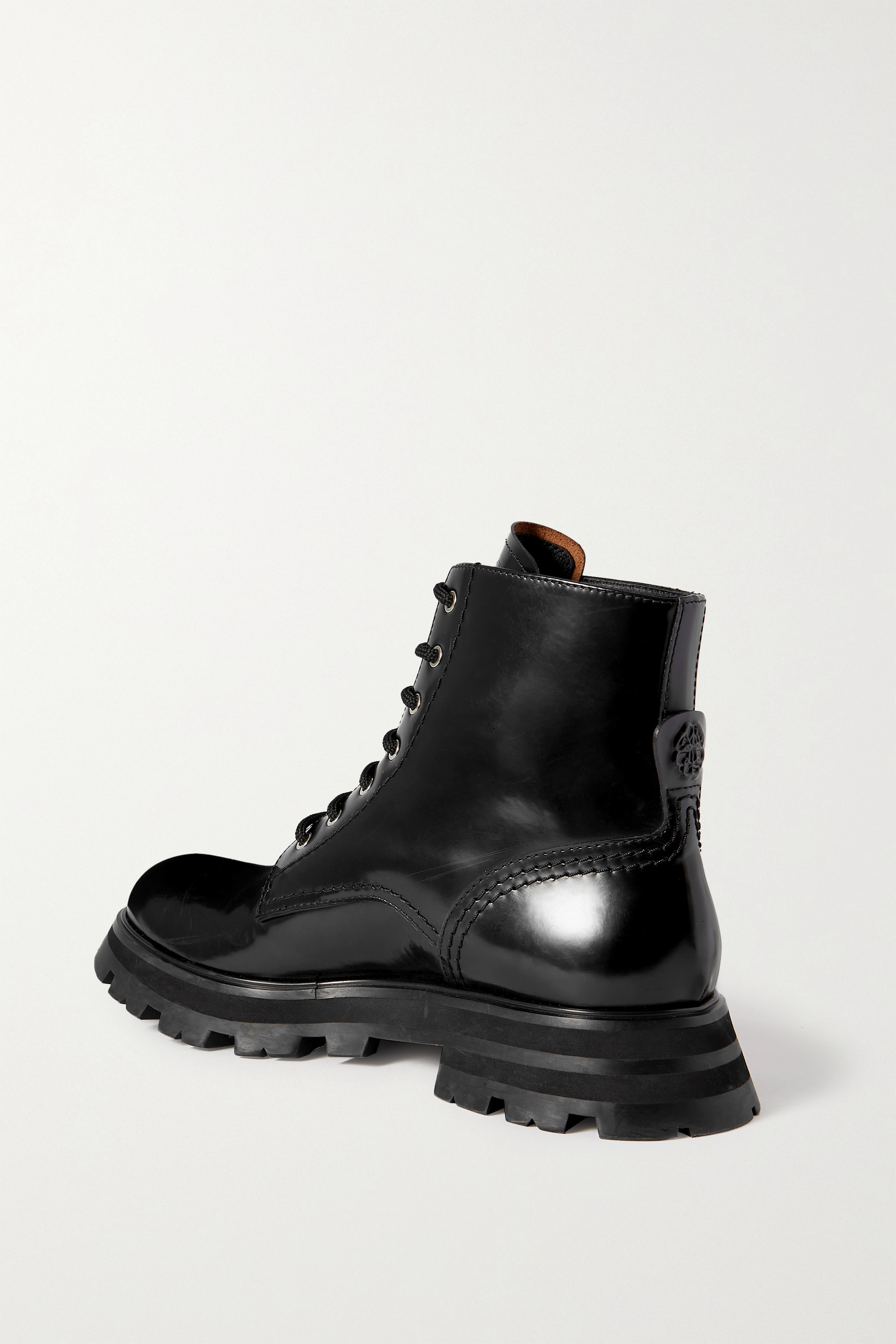 ALEXANDER MCQUEEN Wander glossed-leather exaggerated-sole ankle boots