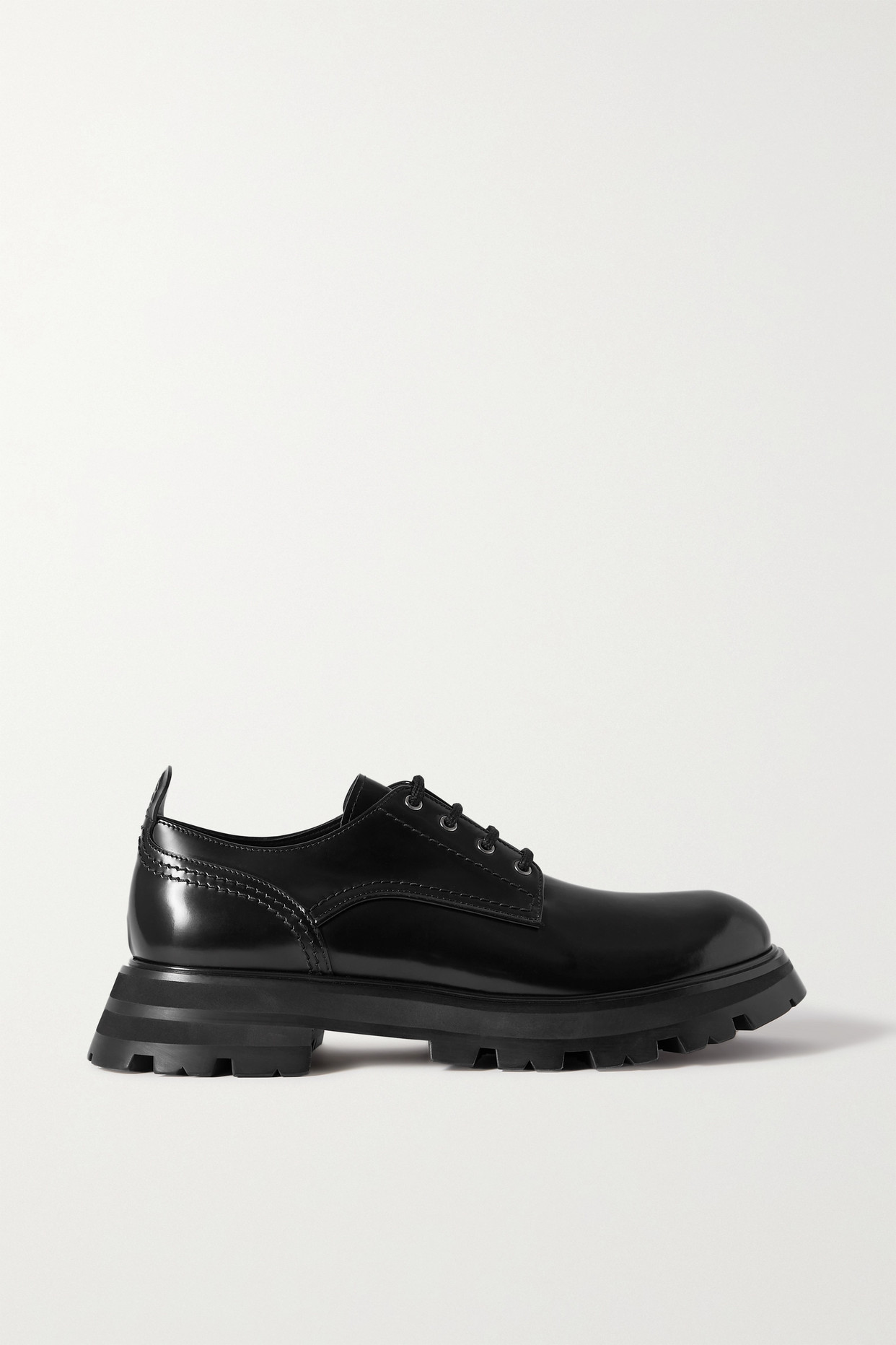 ALEXANDER MCQUEEN - 亮面皮革厚底布洛克鞋 - 黑色 - IT37.5