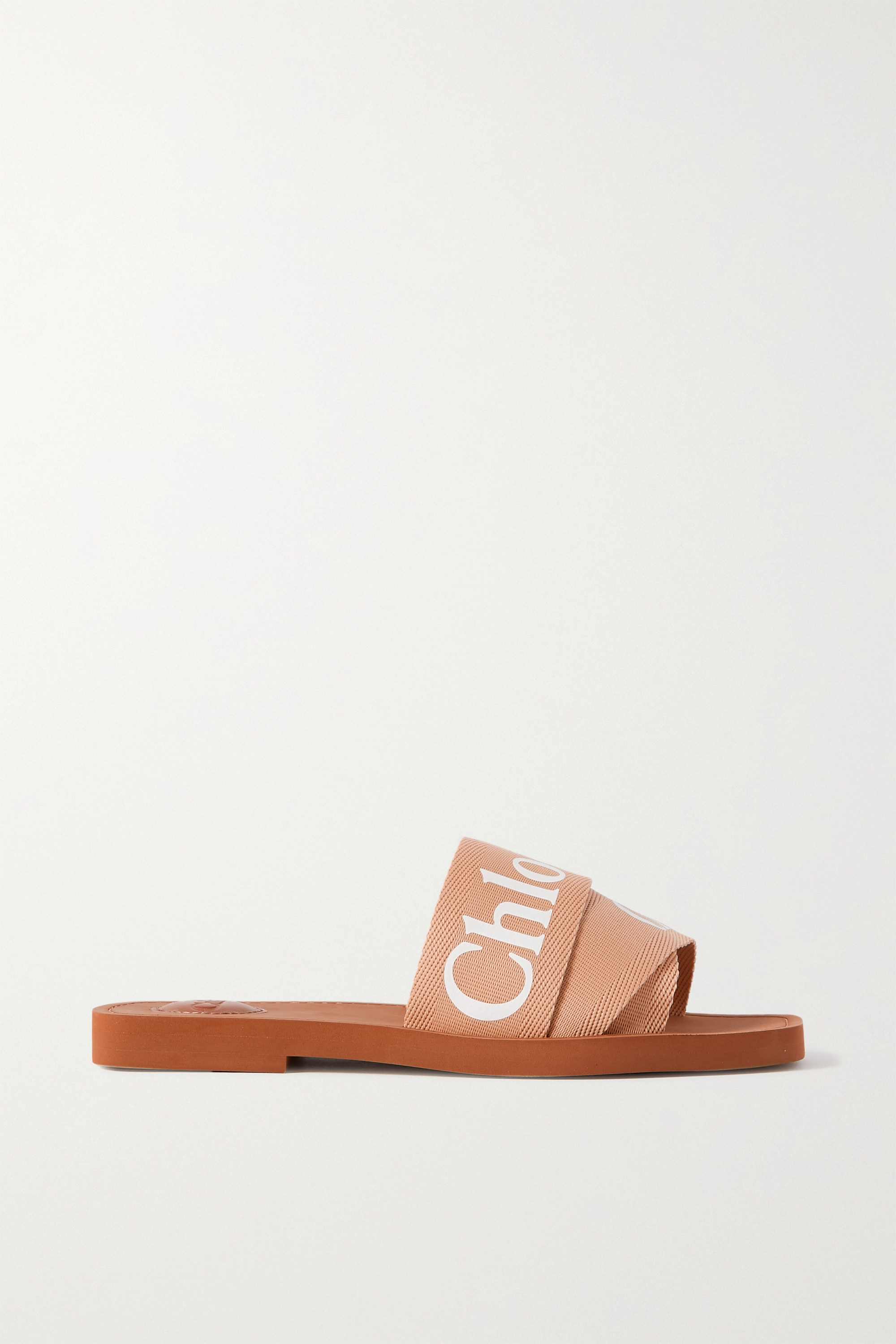 CHLOÉ Woody logo-print canvas slides