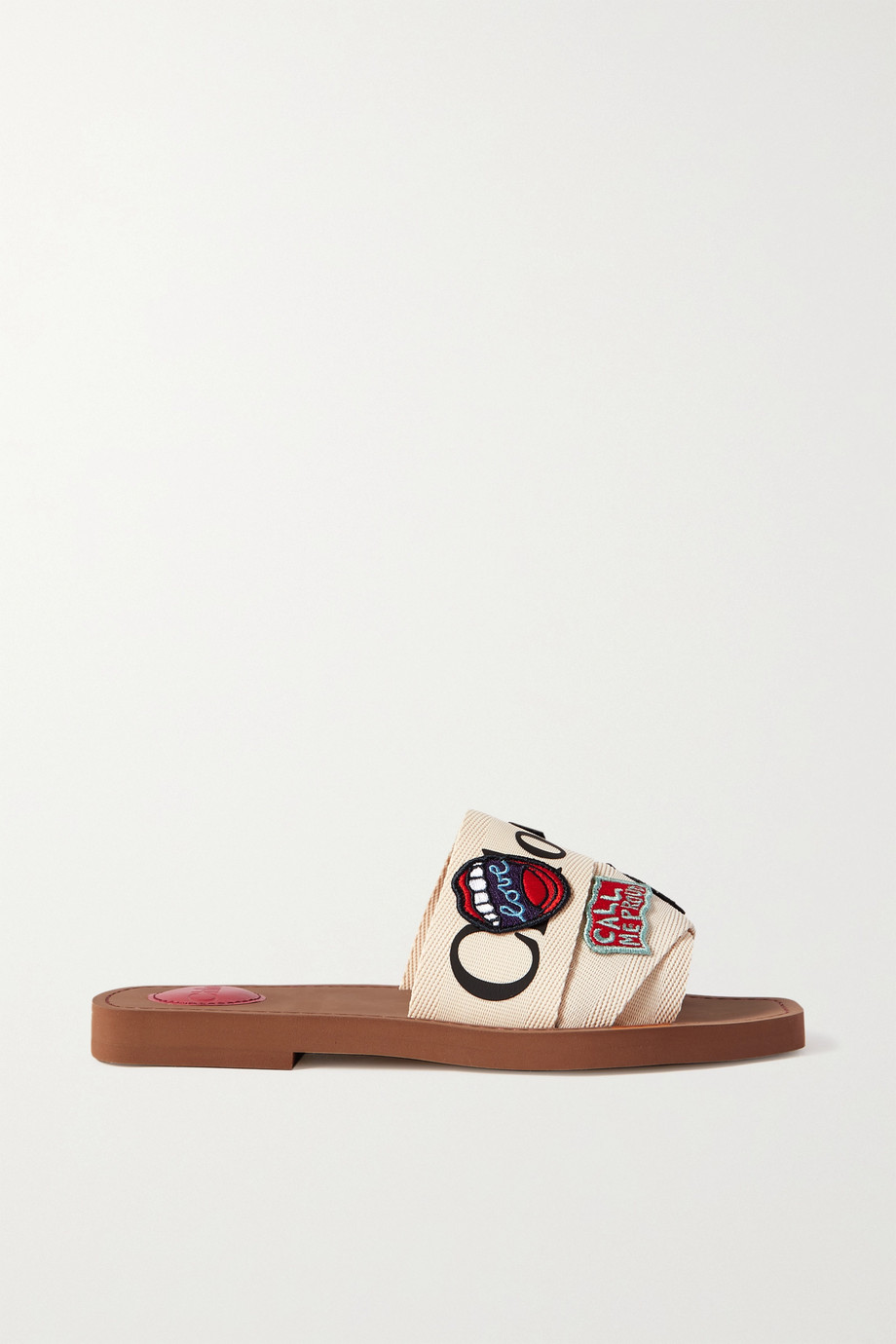 CHLOÉ Woody appliquéd logo-print canvas slides